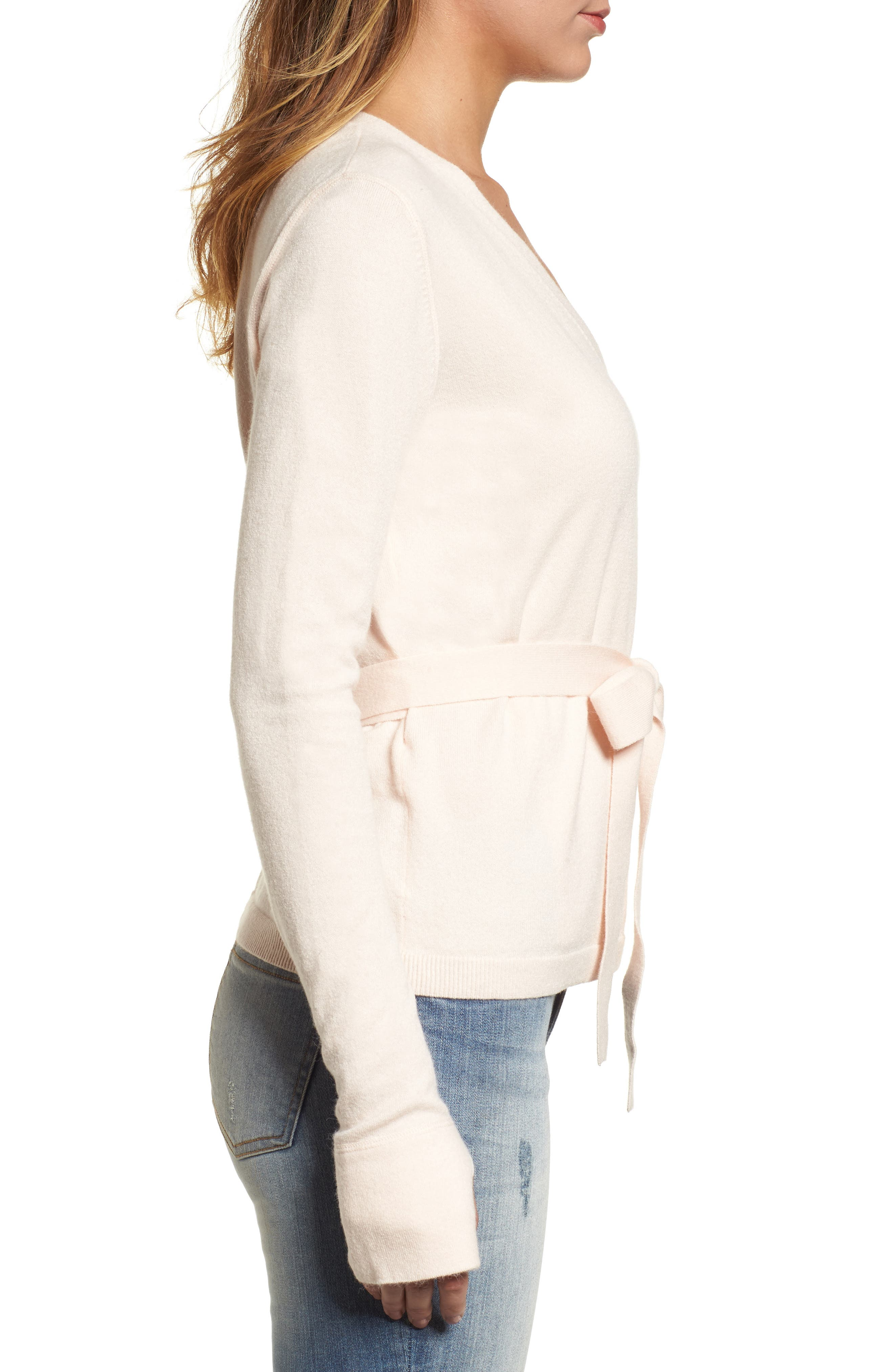 Off-Duty Ballet Tie Front Sweater,                             Alternate thumbnail 3, color,                             Pink Morganite