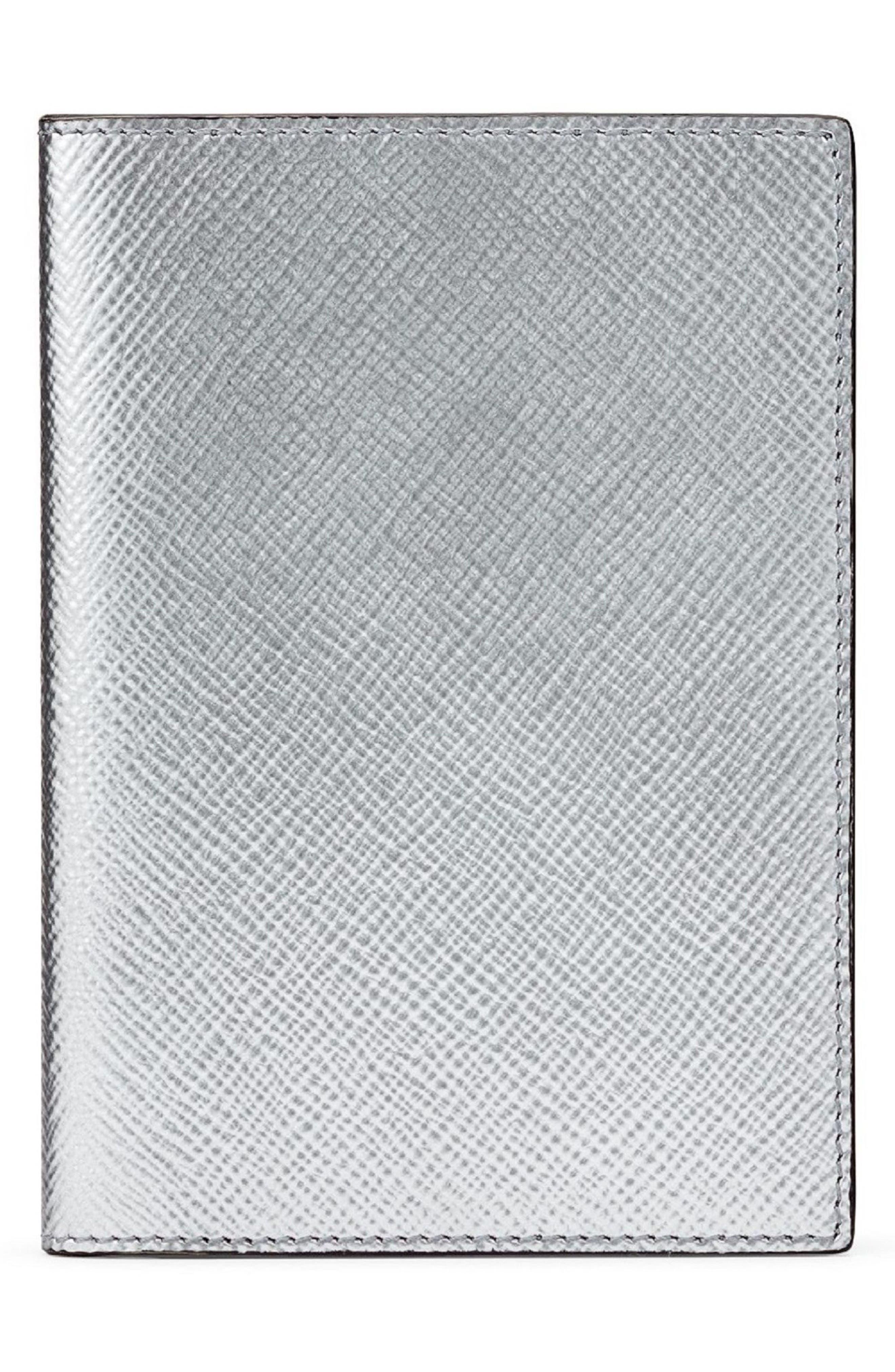 Panama Calfskin Leather Passport Case,                             Main thumbnail 1, color,                             Silver