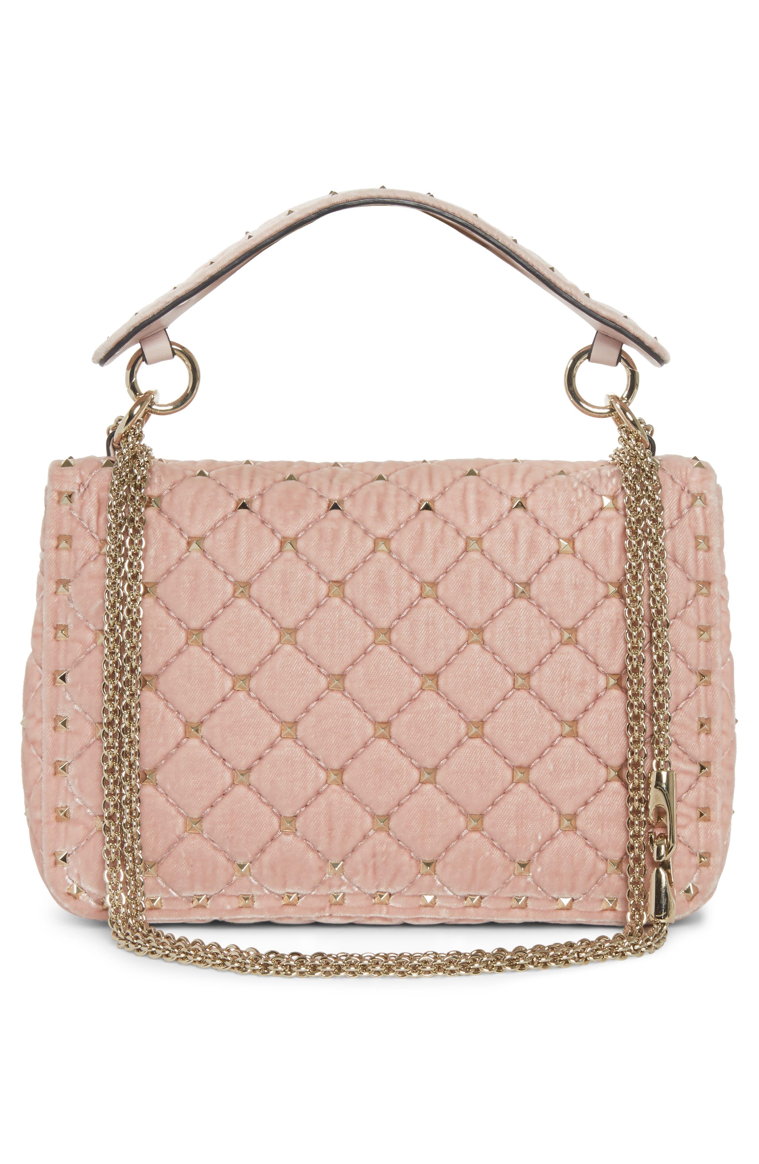 Rockstud Spike Velvet Shoulder Bag,                             Alternate thumbnail 3, color,                             Pink