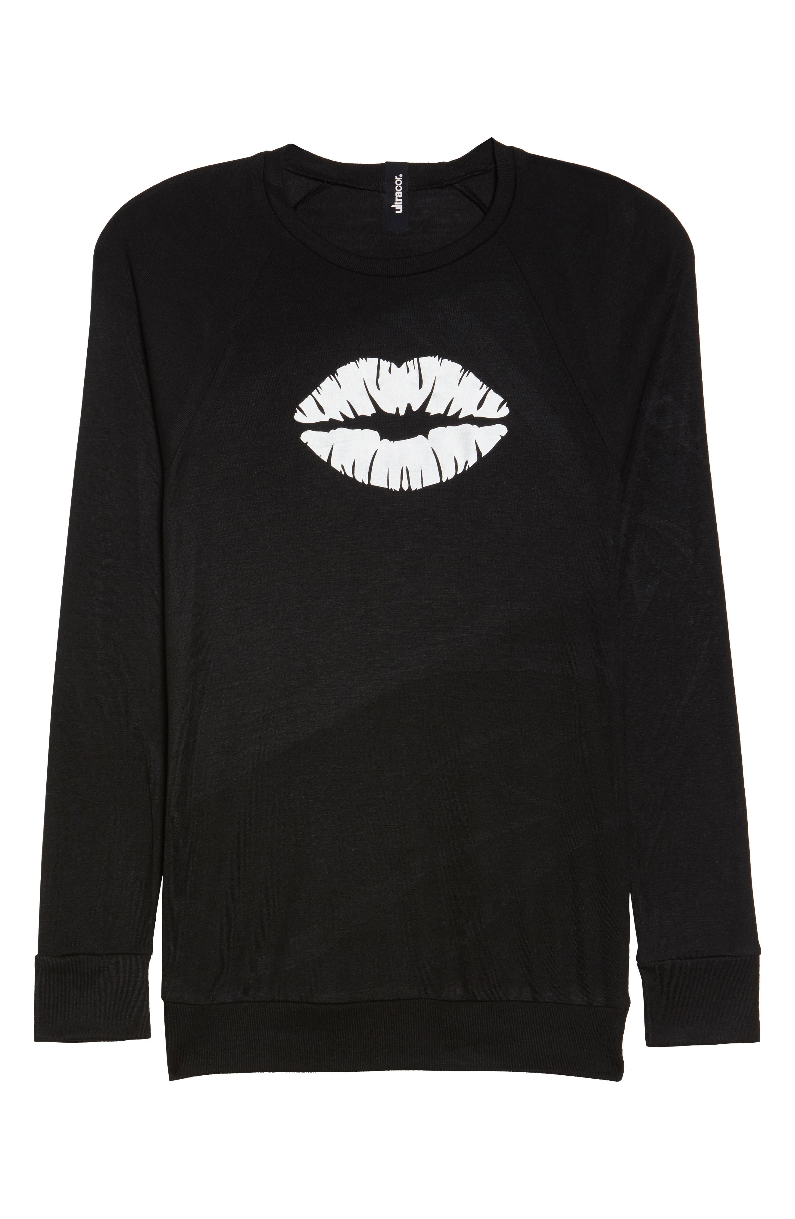 Long Sleeve Make Out Tee,                             Alternate thumbnail 6, color,                             Nero Silver