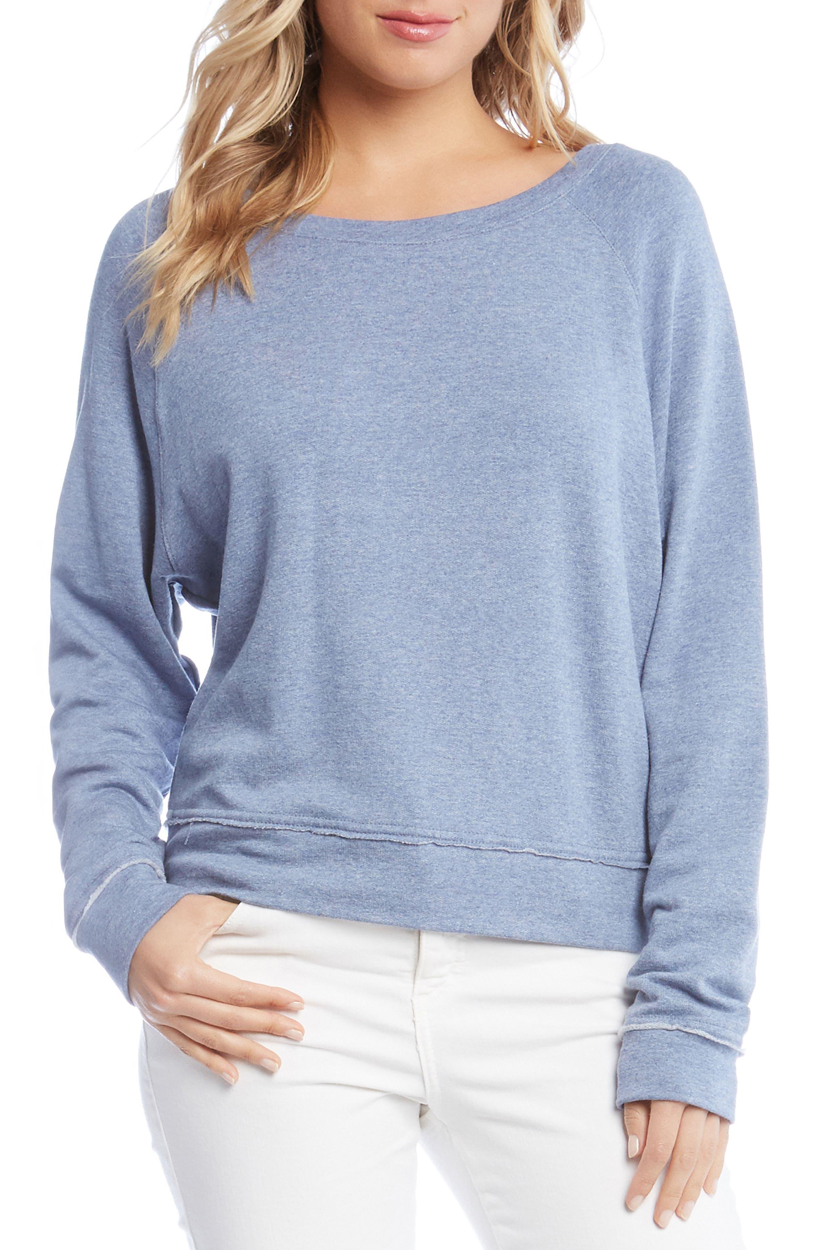 Raw Seam Pullover Top,                             Main thumbnail 1, color,                             Chambray