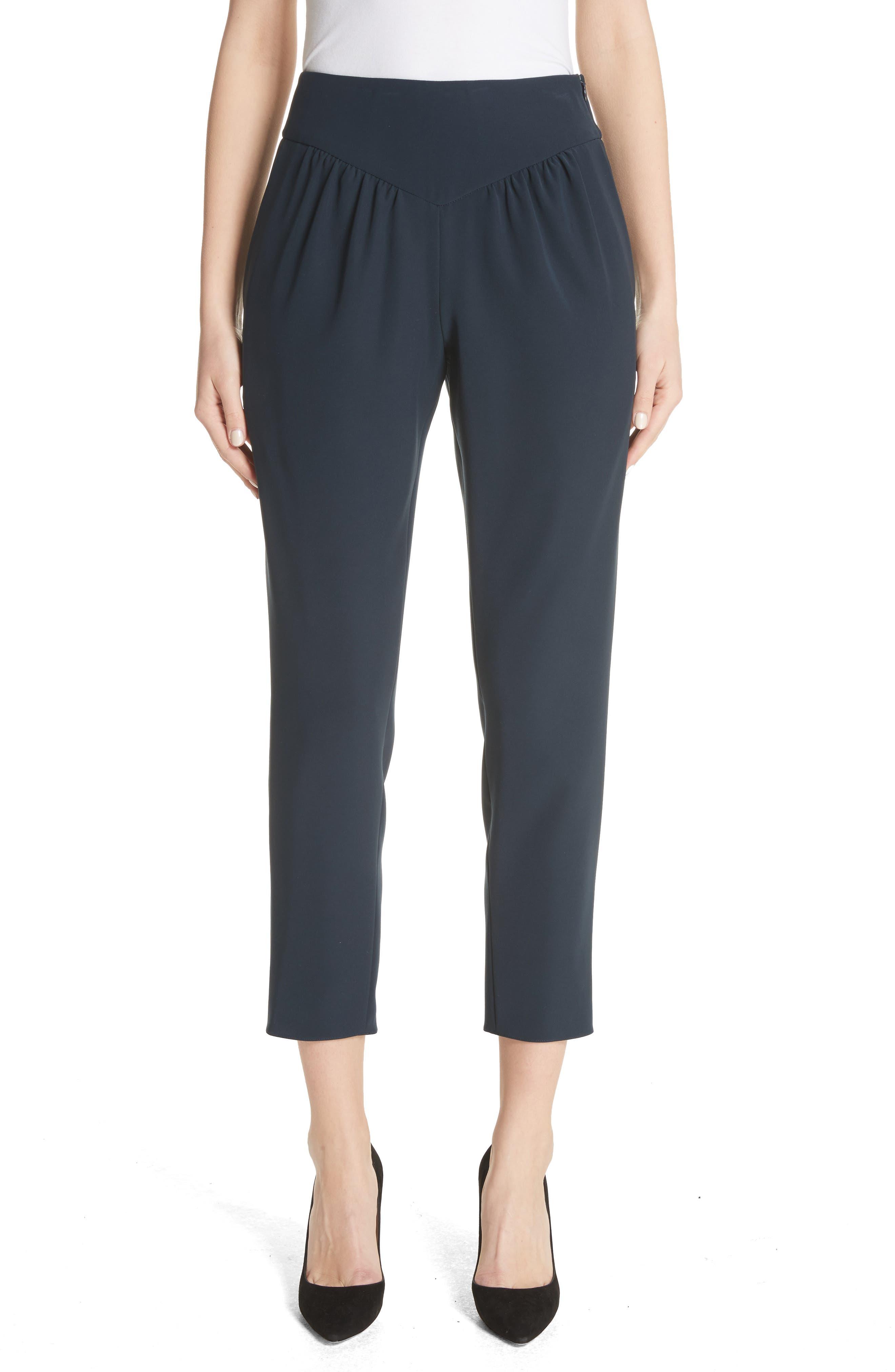 Yoke Waist Crop Pants,                         Main,                         color, Navy