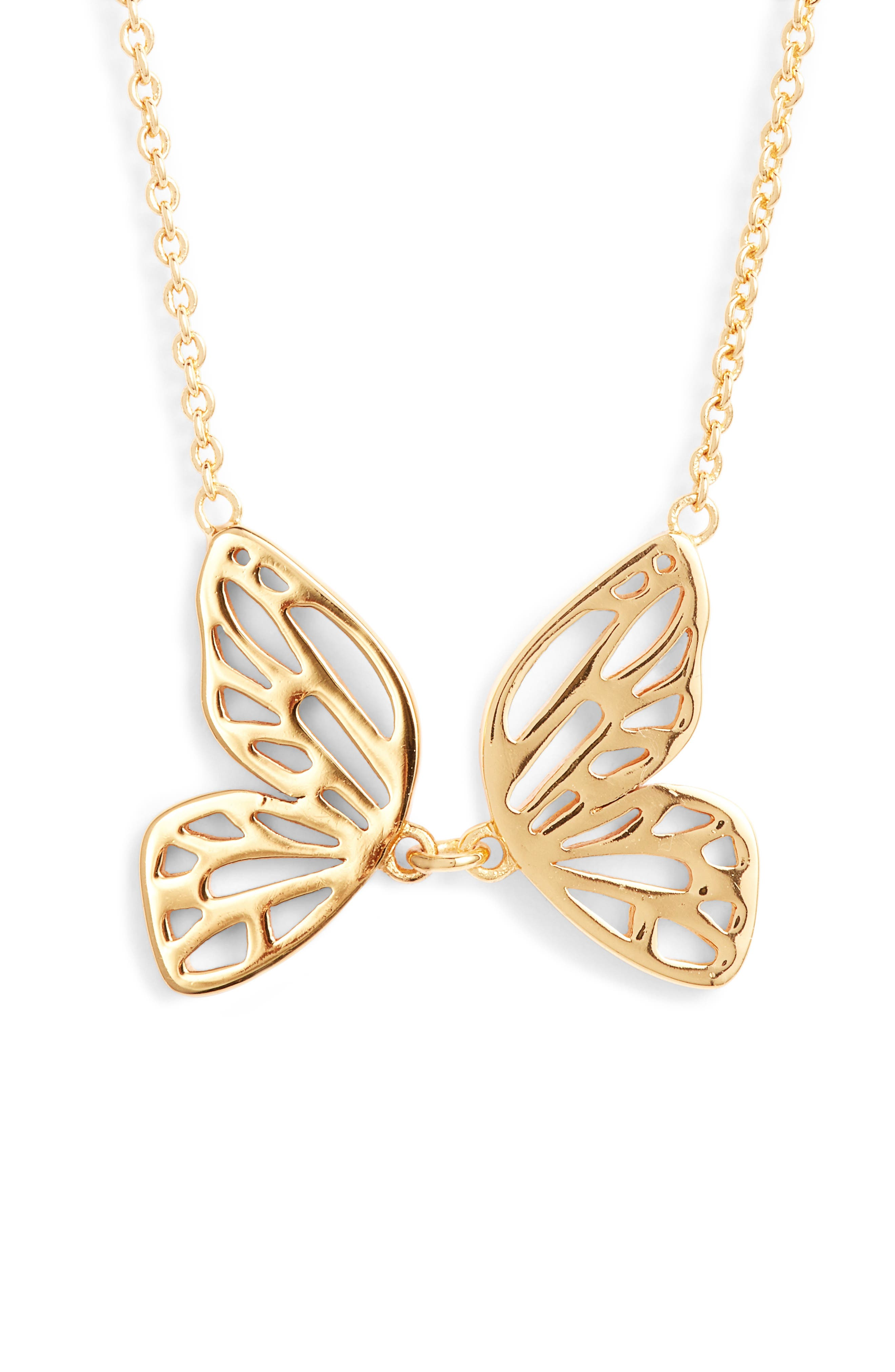 Butterfly Pendant Necklace,                         Main,                         color, Gold