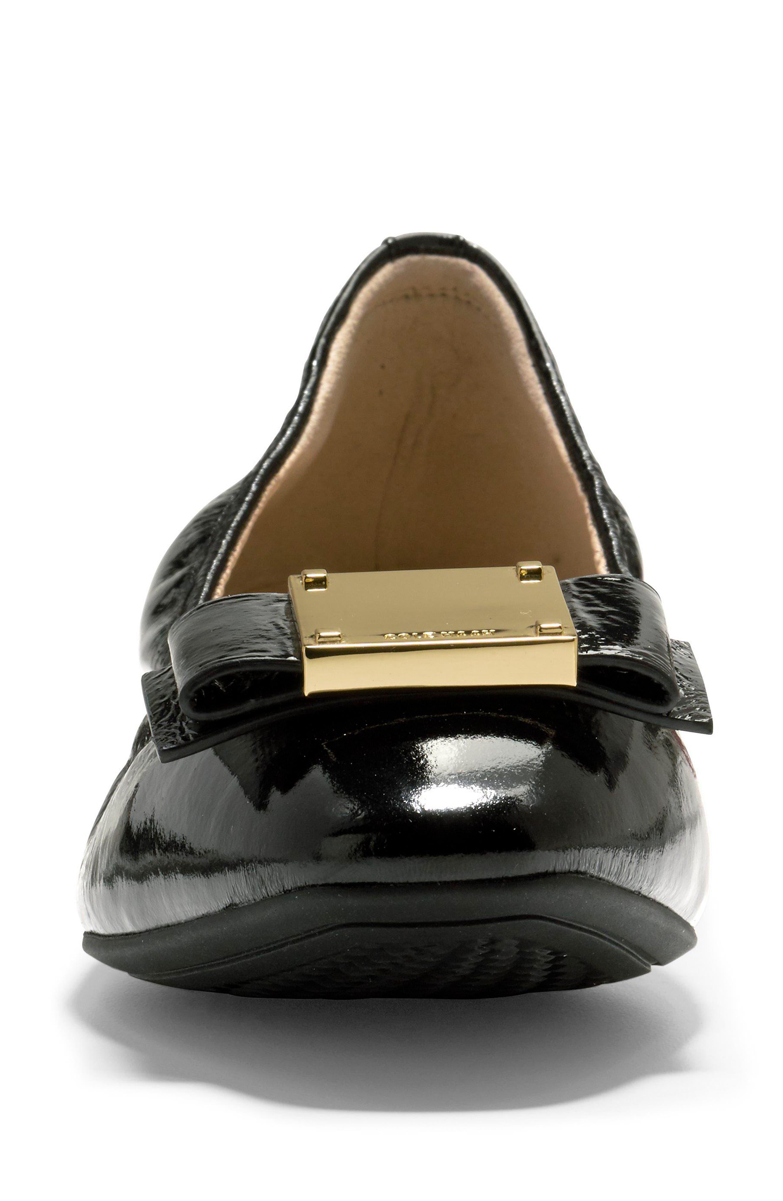 Tali Modern Bow Ballet Flat,                             Alternate thumbnail 4, color,                             Black Patent
