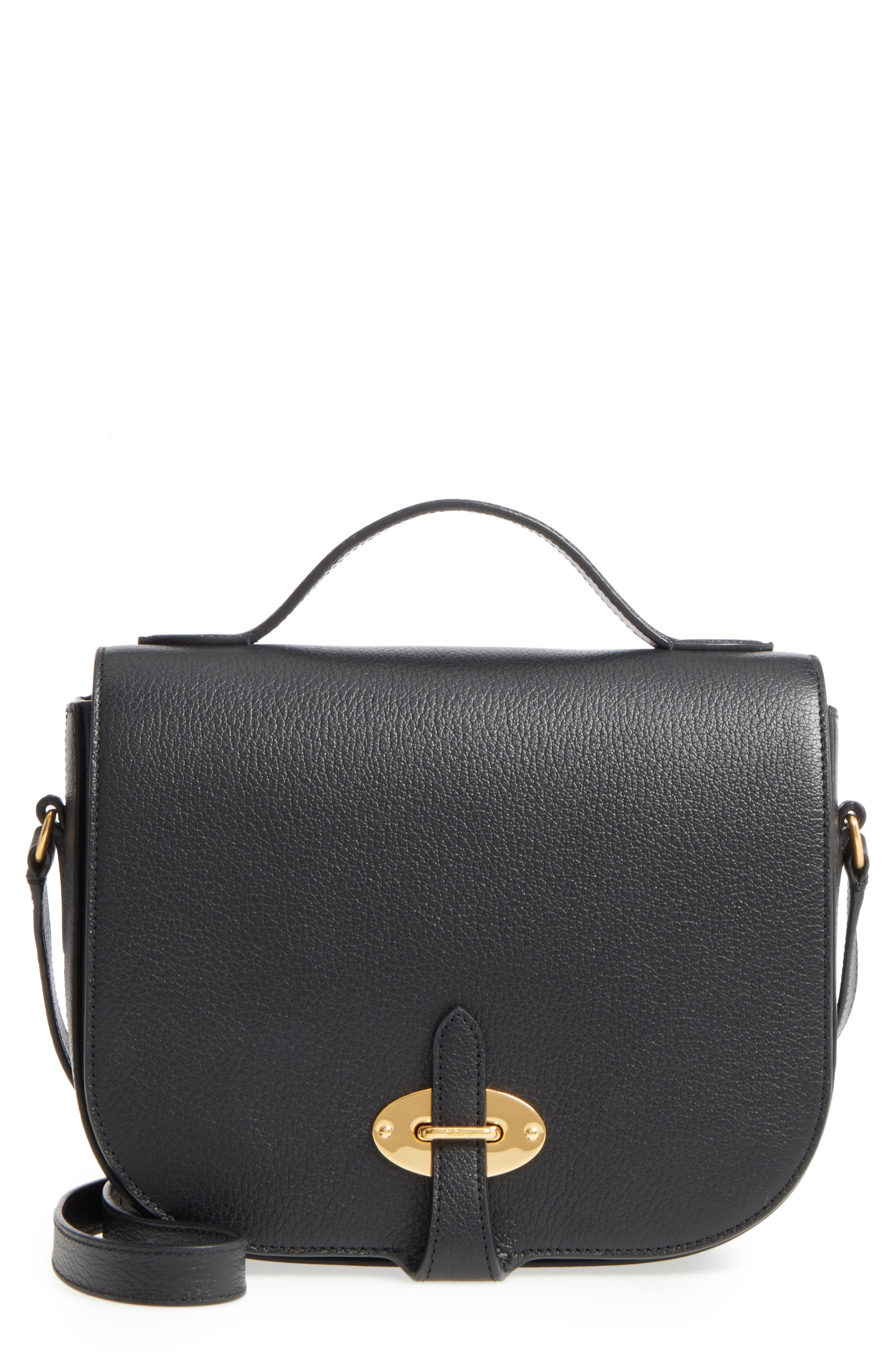 Tenby Calfskin Leather Crossbody Bag,                         Main,                         color, Black