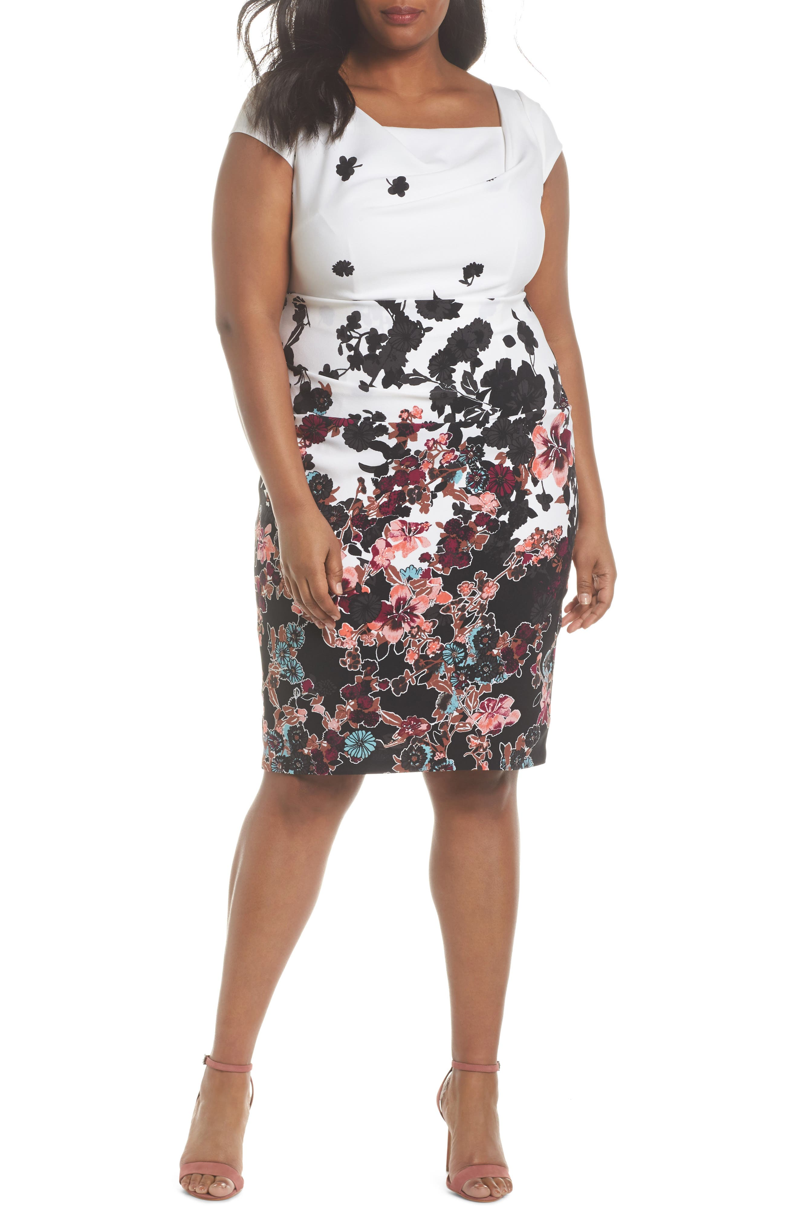 Floral Bliss Draped Sheath Dress,                         Main,                         color, Ivory Multi