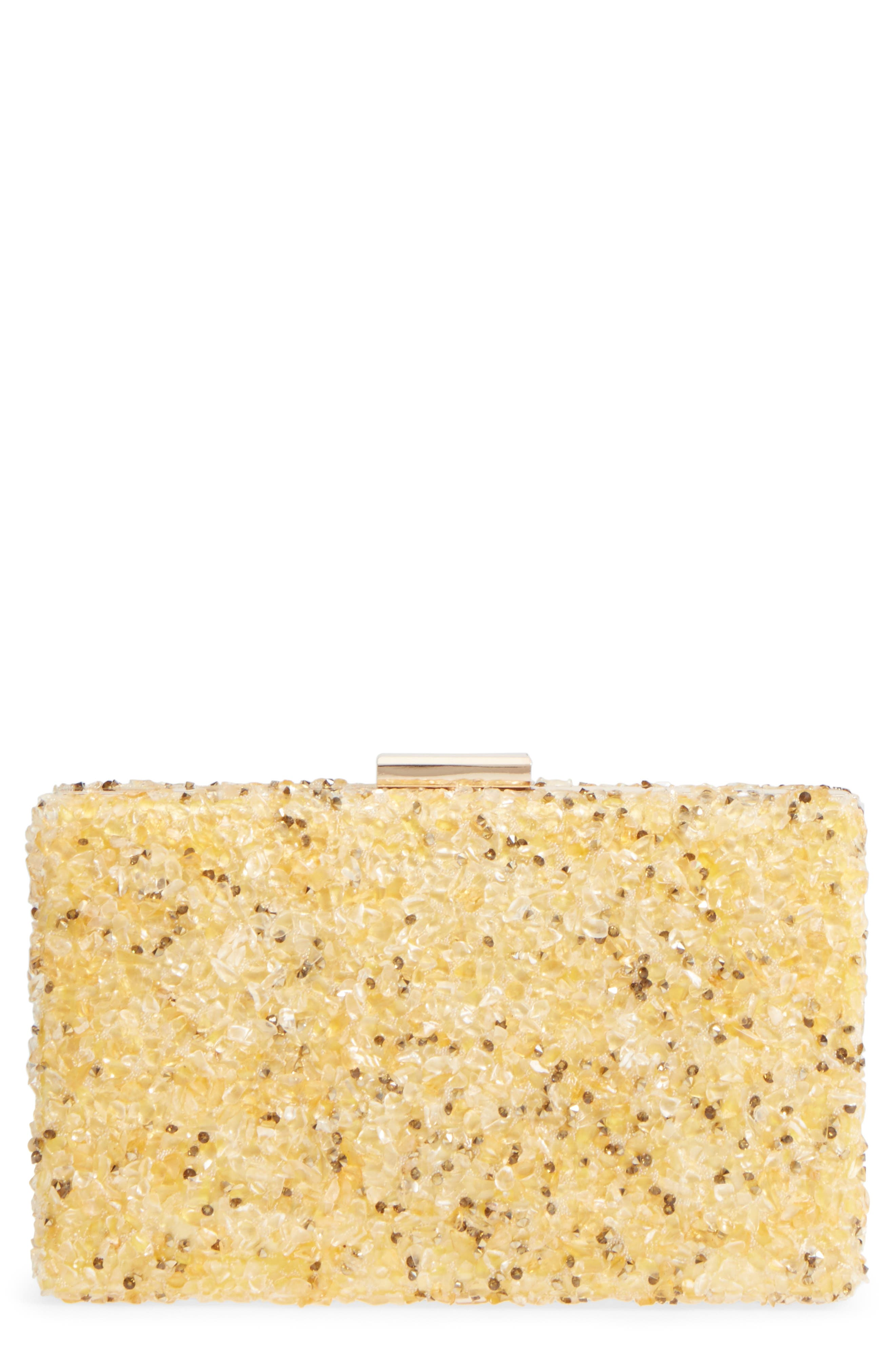 Natasha Couture Chips Embellished Box Clutch