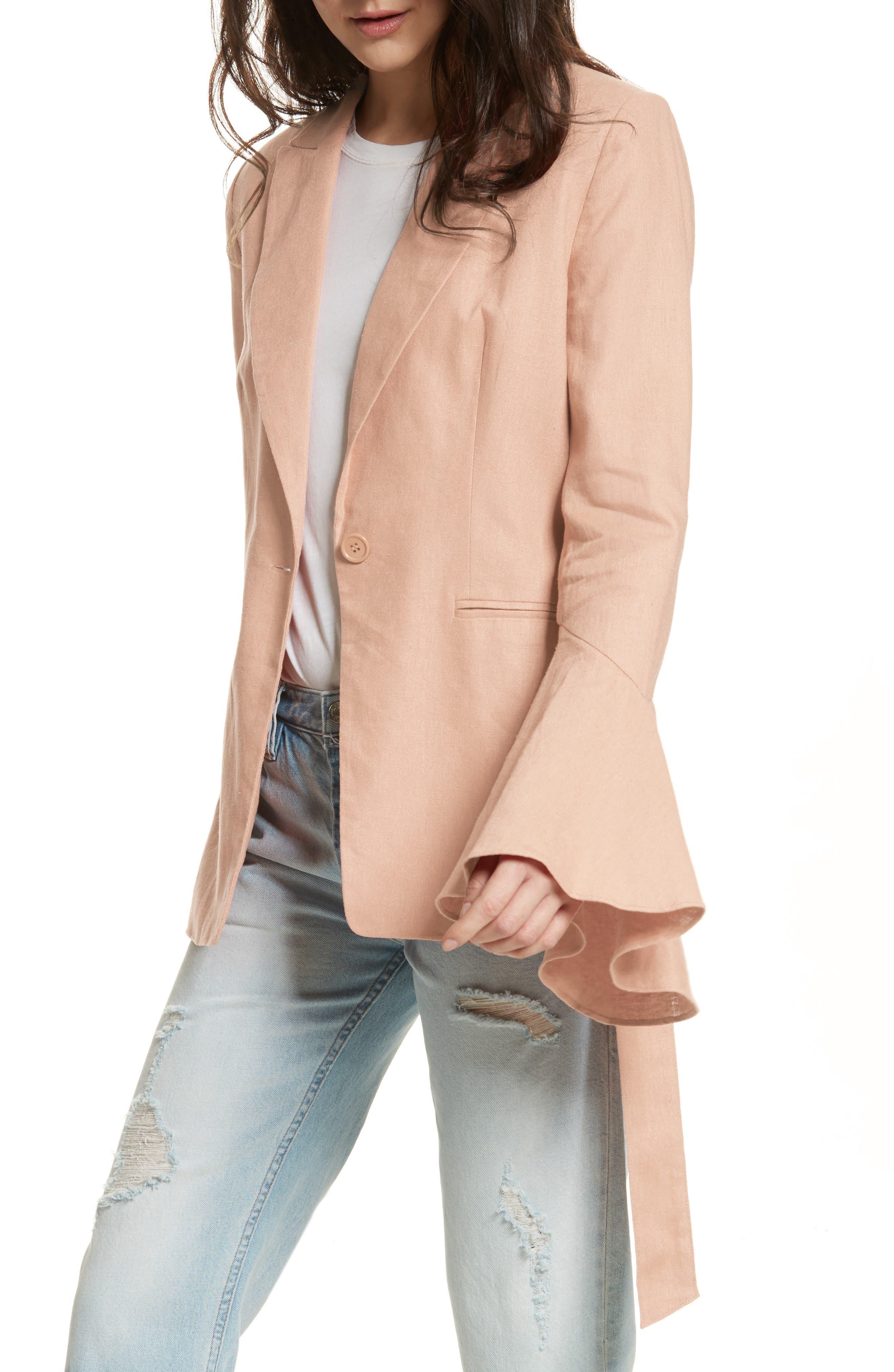Flared Sleeve Blazer,                         Main,                         color, Rose
