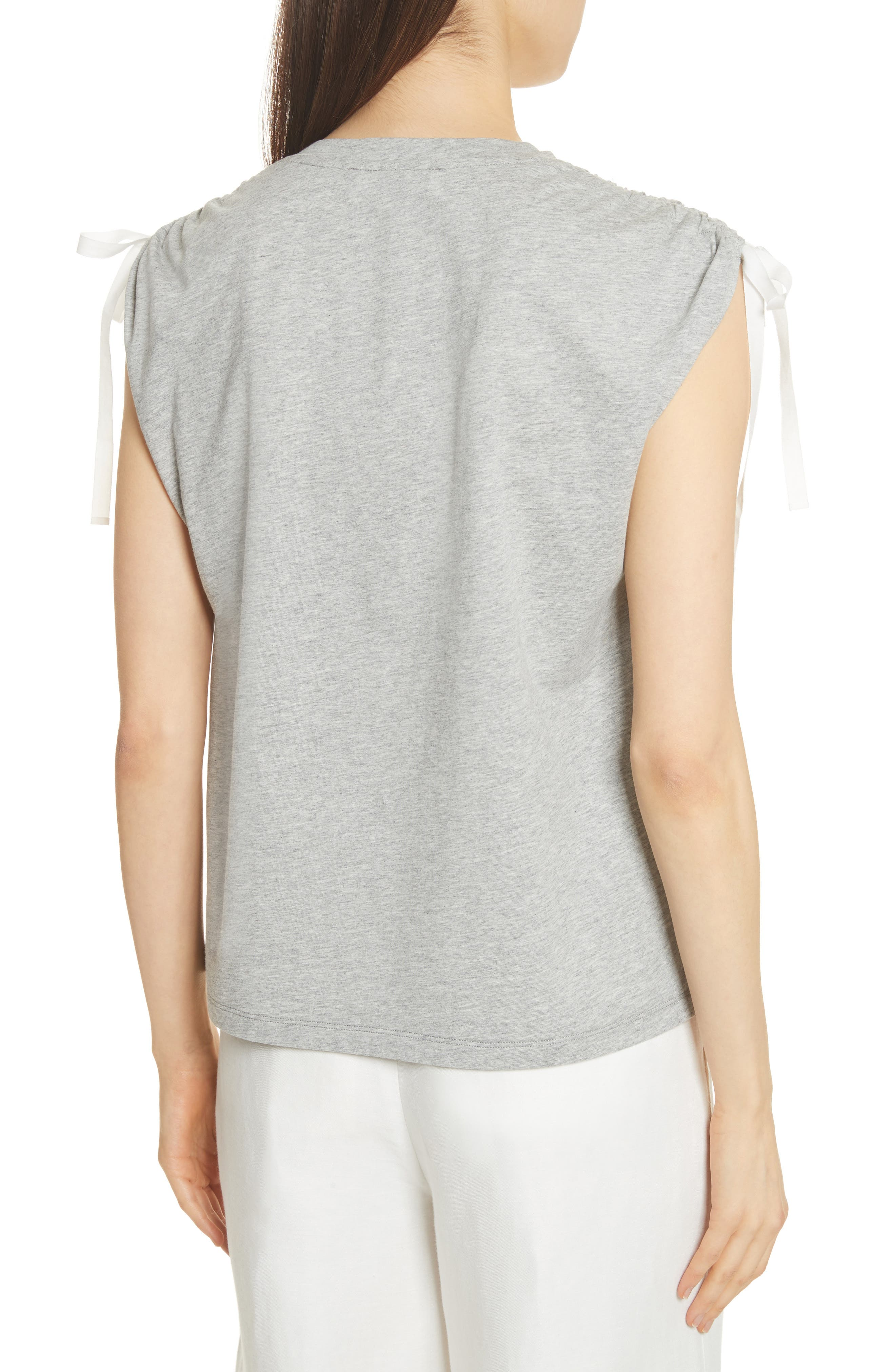 Ruched Shoulder Tee,                             Alternate thumbnail 2, color,                             Heather Grey
