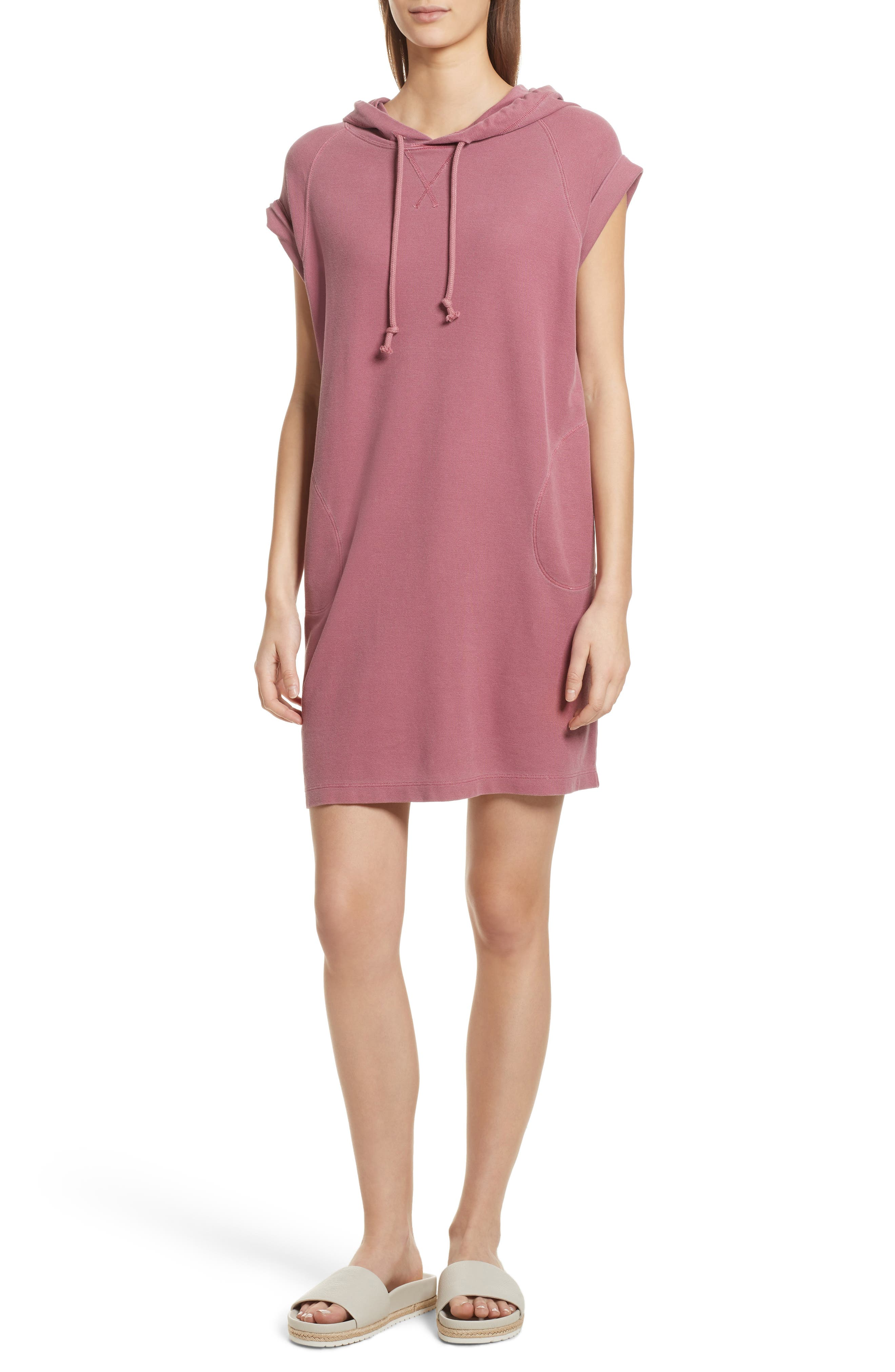 Piqué Hooded Dress,                         Main,                         color, Nantucket Red