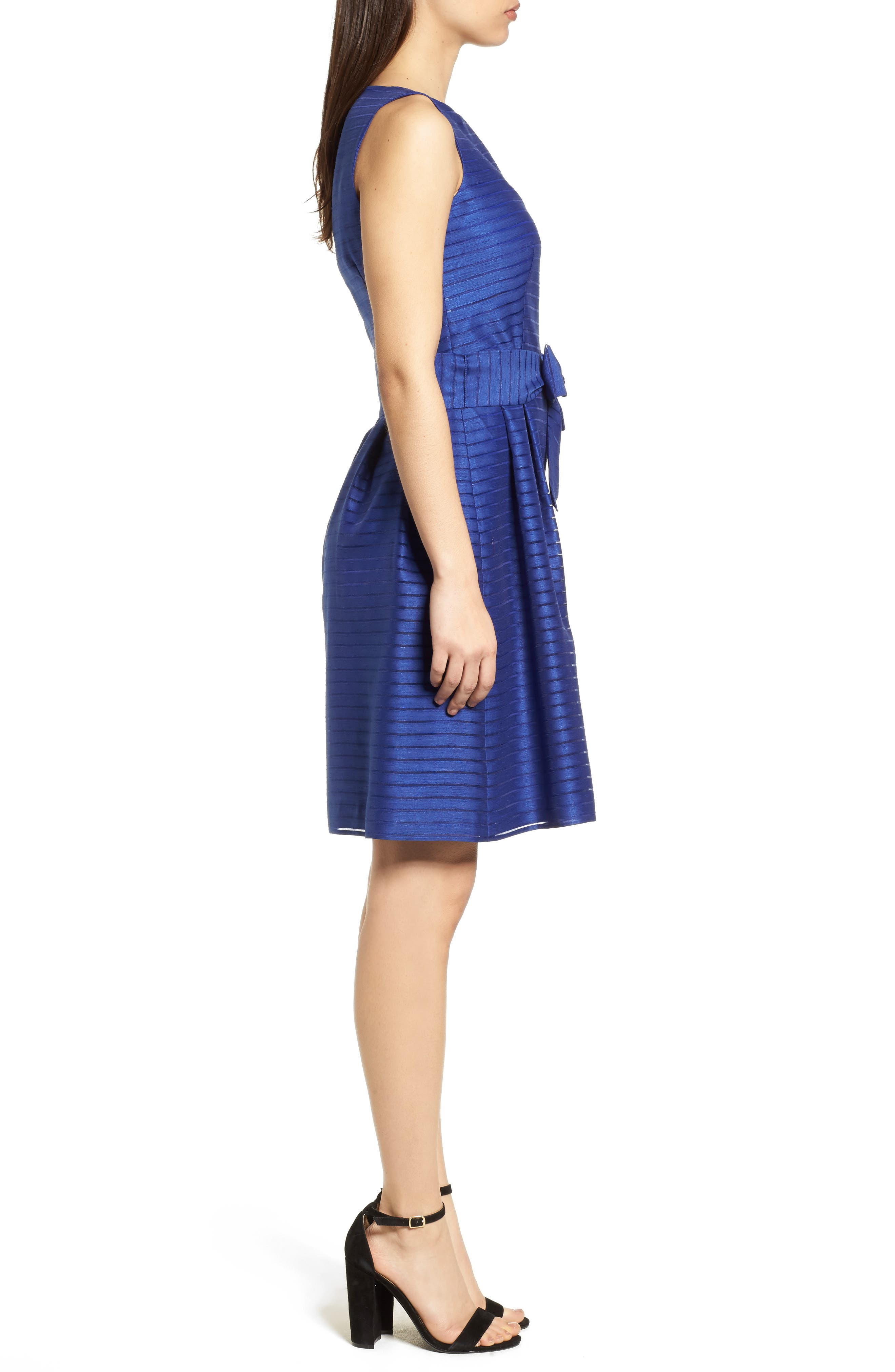 Shadow Stripe Fit & Flare Dress,                             Alternate thumbnail 3, color,                             Okeeffe Blue