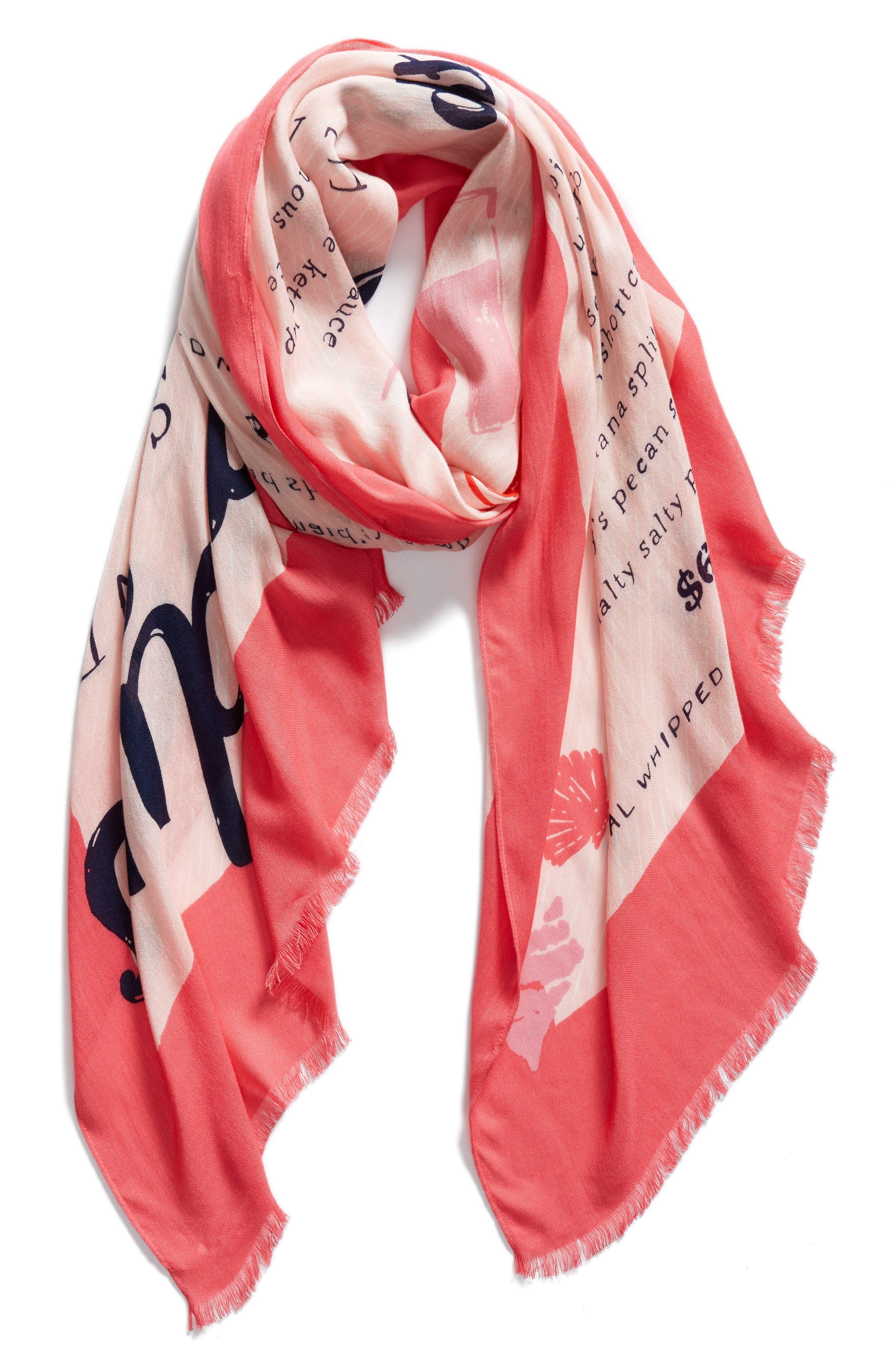 sandy's seaside stand scarf,                             Alternate thumbnail 3, color,                             Peach Sherbert