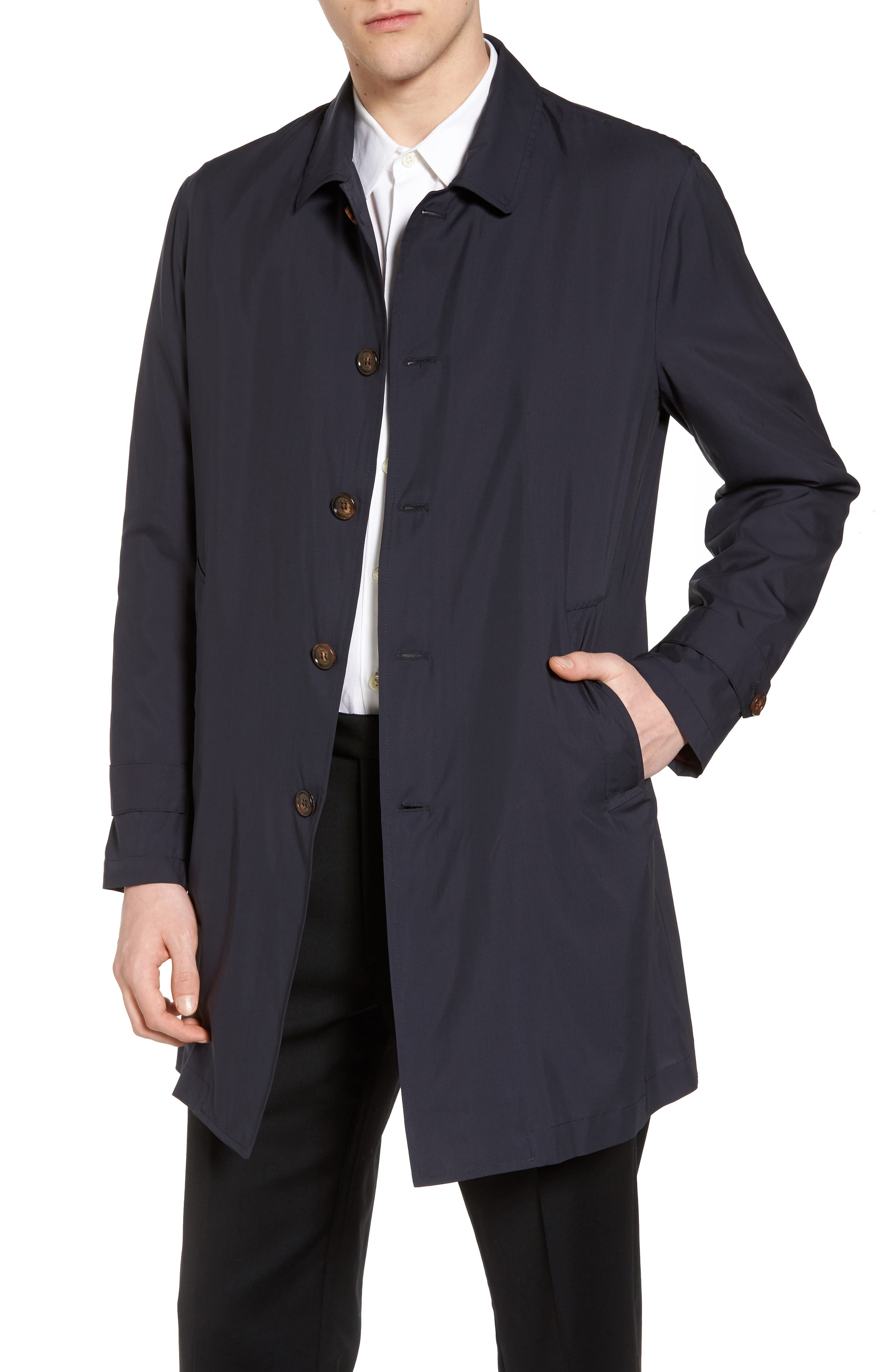 Trim Fit Water-Resistant Silk Topcoat,                         Main,                         color, Navy