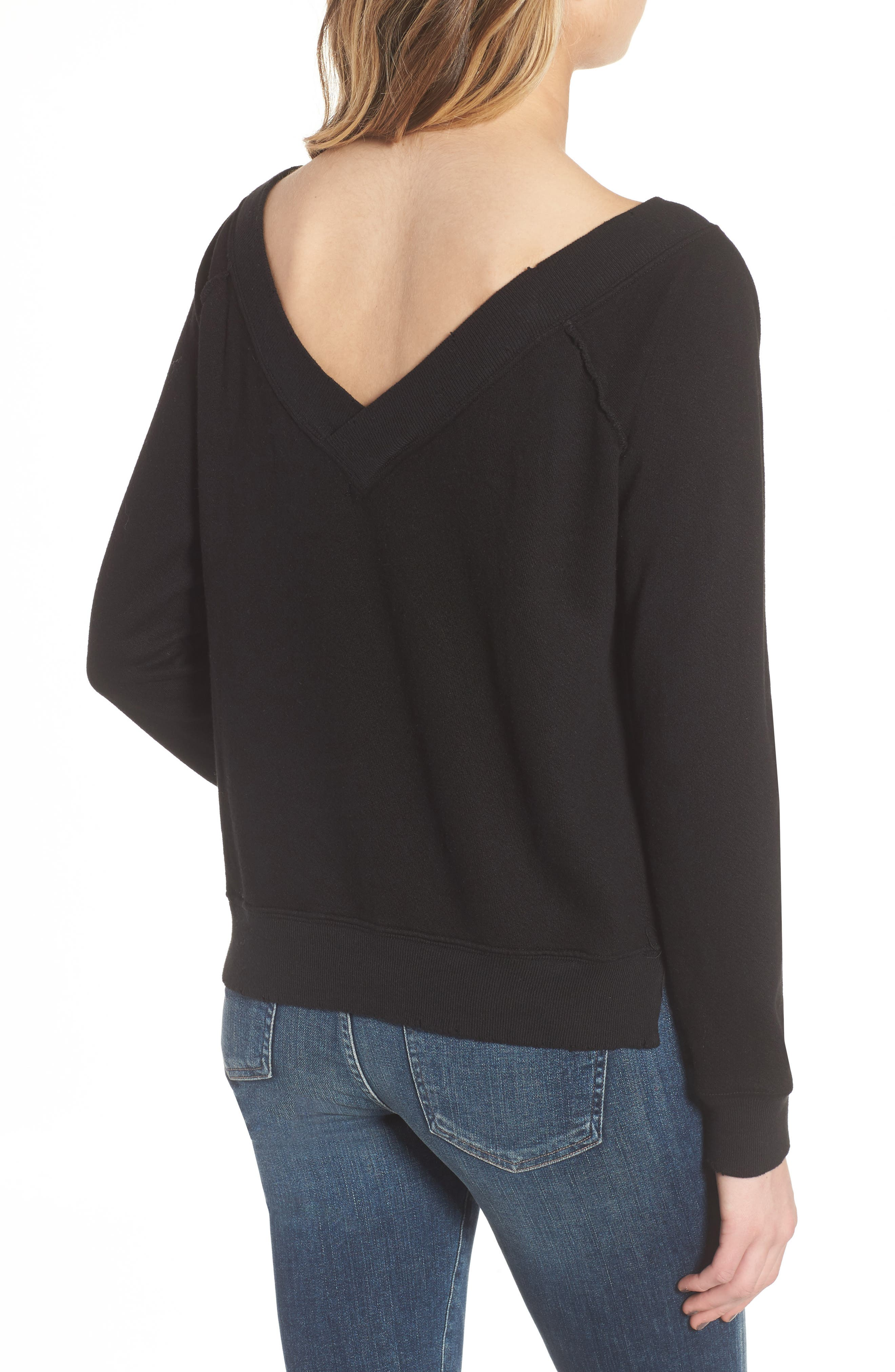 Mayer V-Neck Sweatshirt,                             Alternate thumbnail 2, color,                             Black Cat