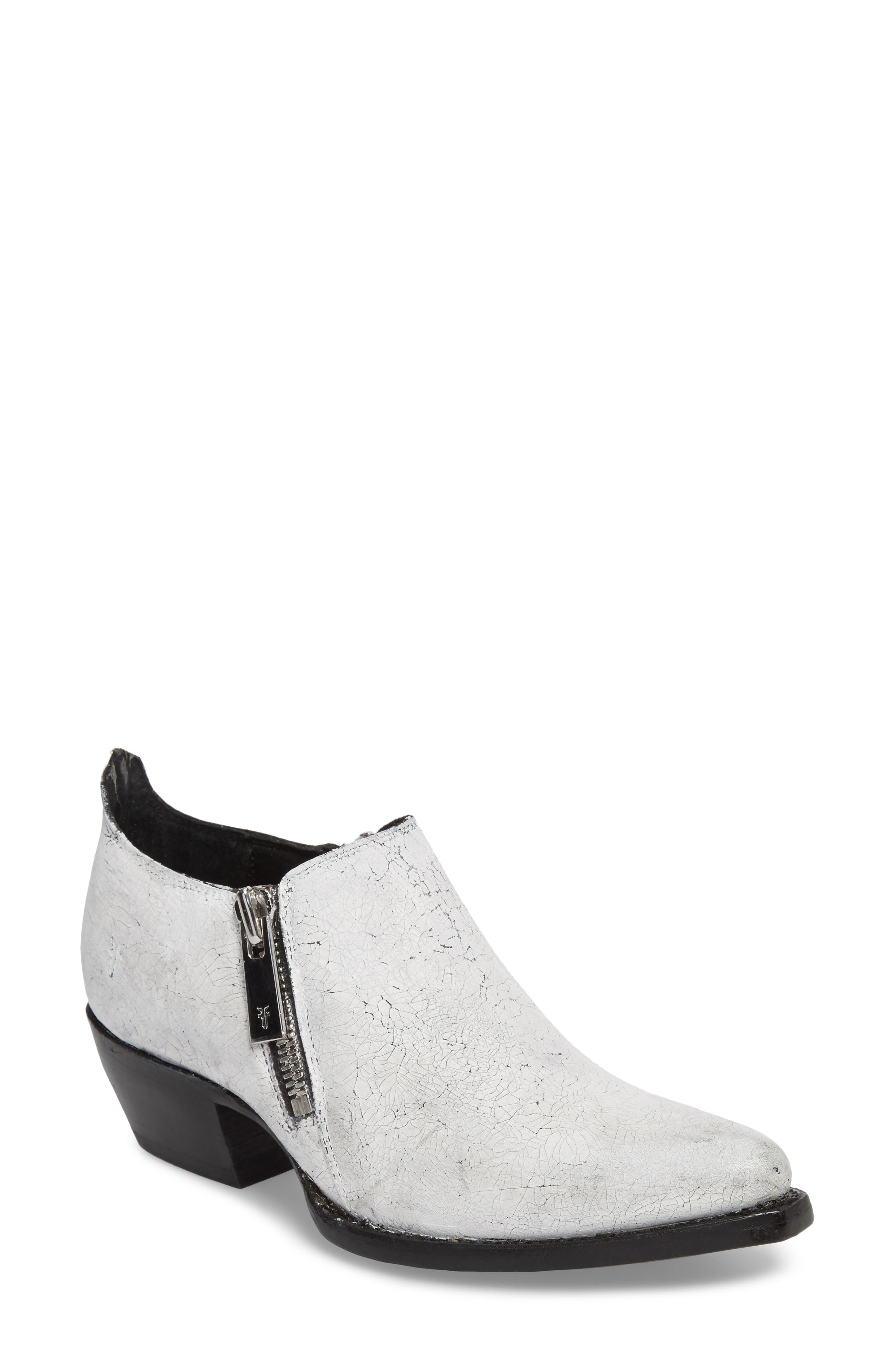 Sacha Double Zip Bootie,                             Main thumbnail 1, color,                             White
