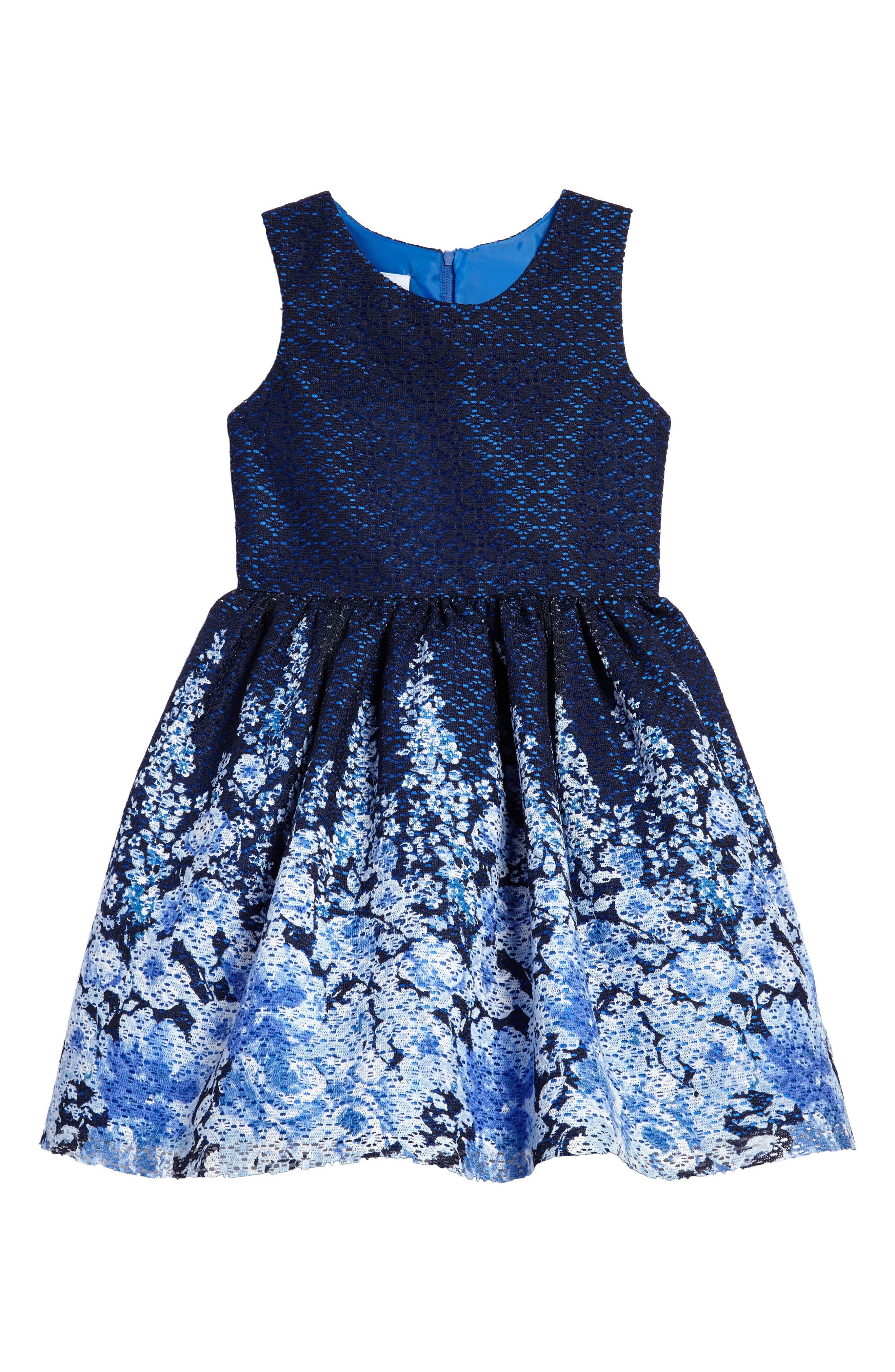 Floral Lace Dress,                         Main,                         color, Navy