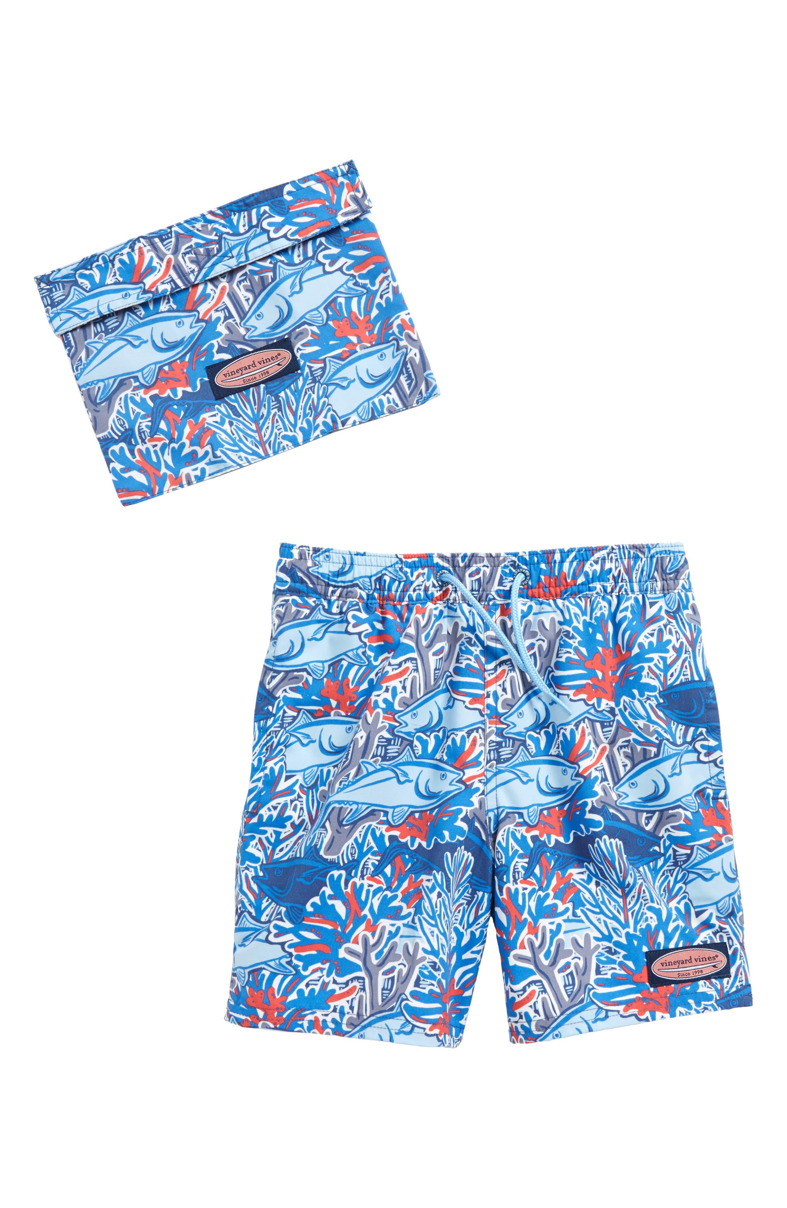 Chappy Tuna in Coral Swim Trunks,                         Main,                         color, Moonshine
