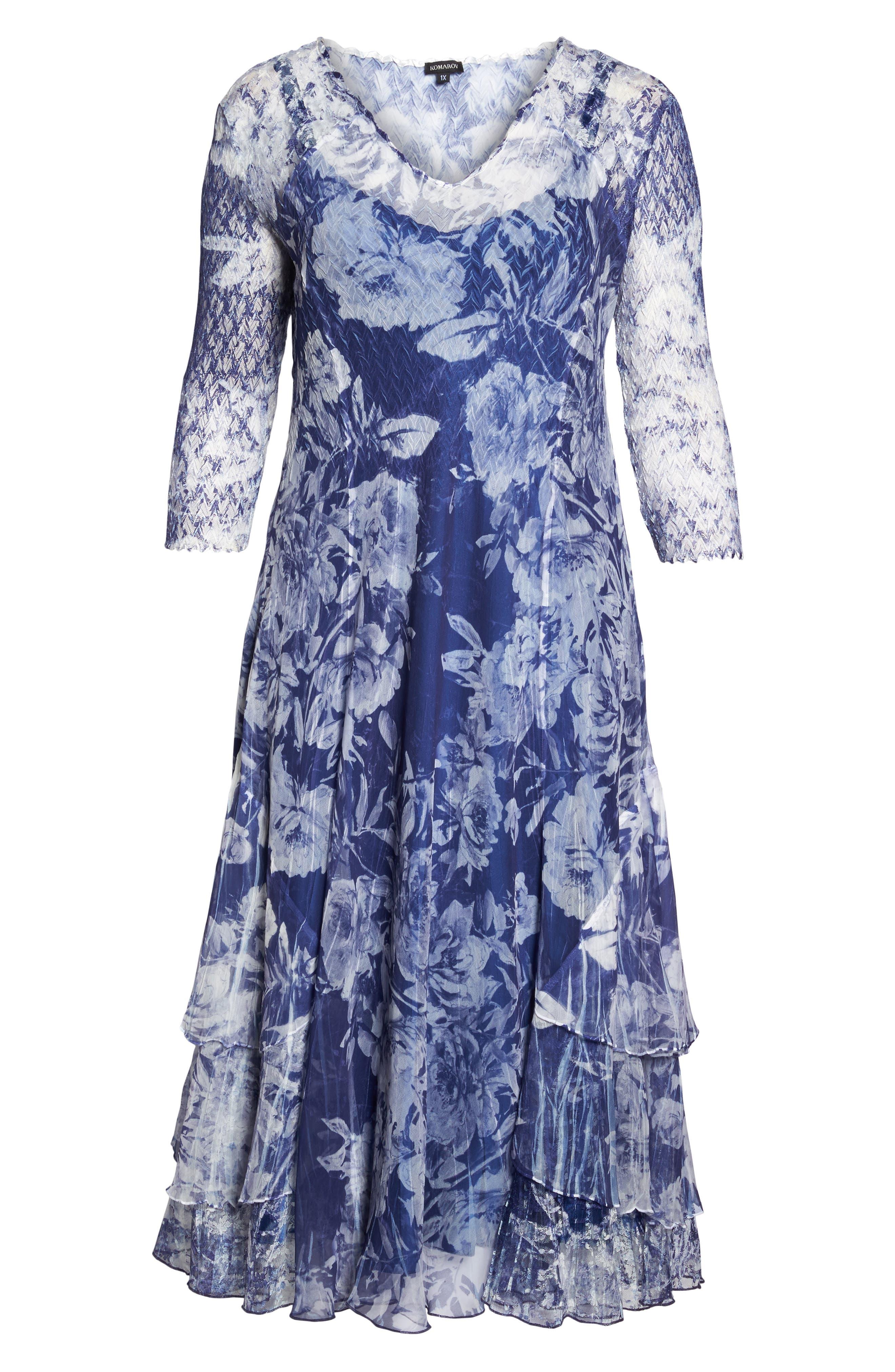 Print Chiffon Tiered Maxi Dress,                             Alternate thumbnail 6, color,                             Indigo Fields