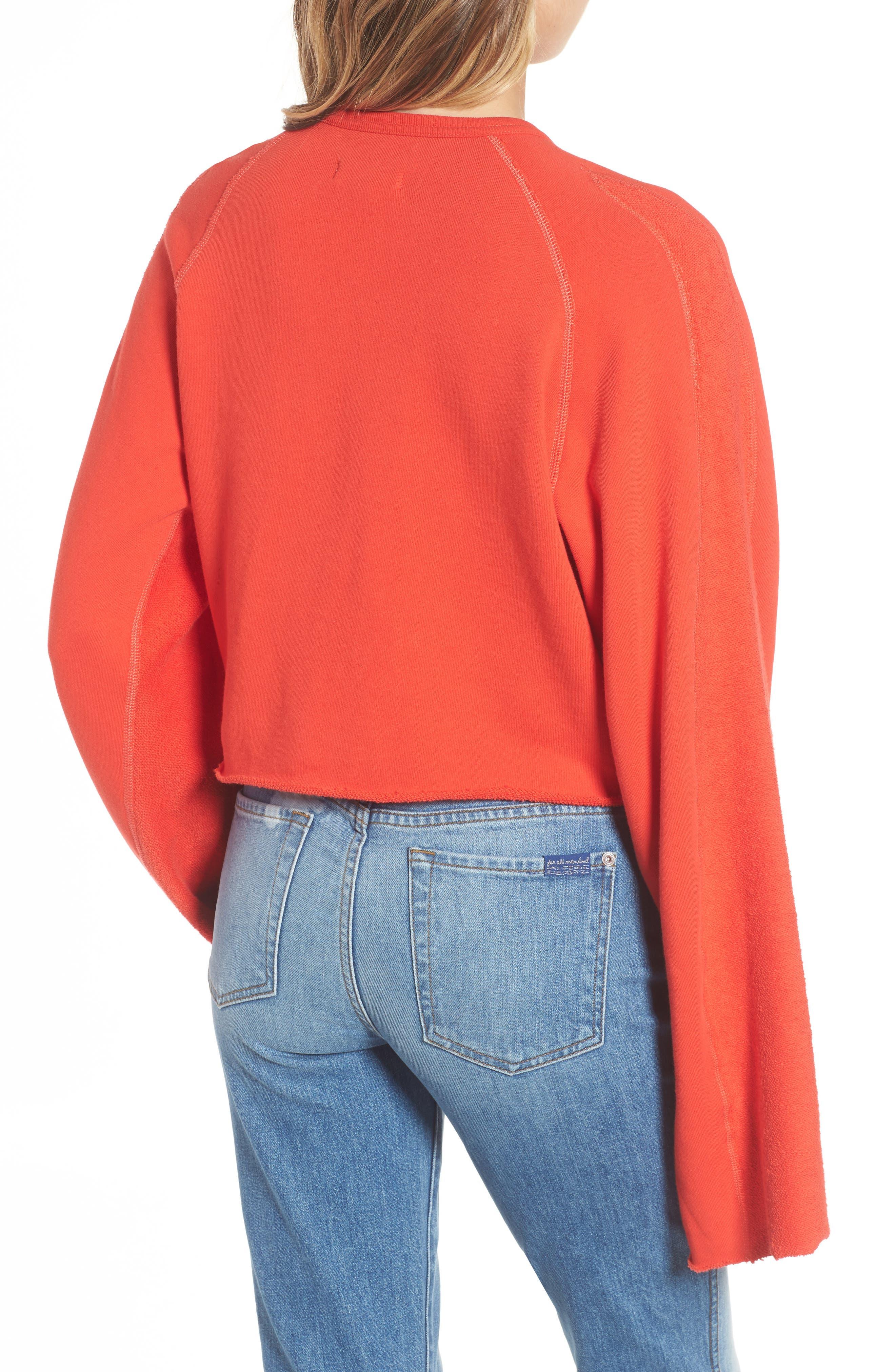 Alternate Image 2  - 7 For All Mankind® Flare Sleeve Crop Sweatshirt