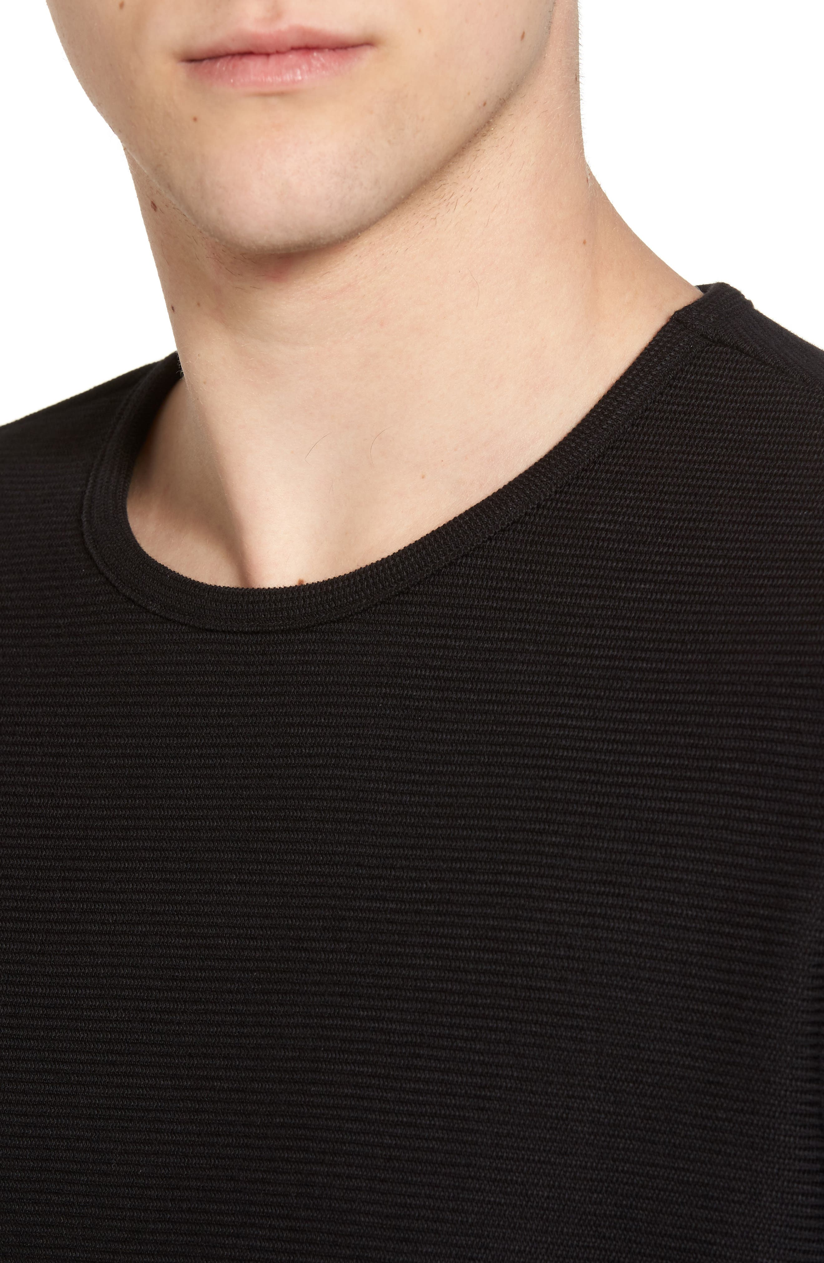 Side Zip Thermal Sweatshirt,                             Alternate thumbnail 4, color,                             Black