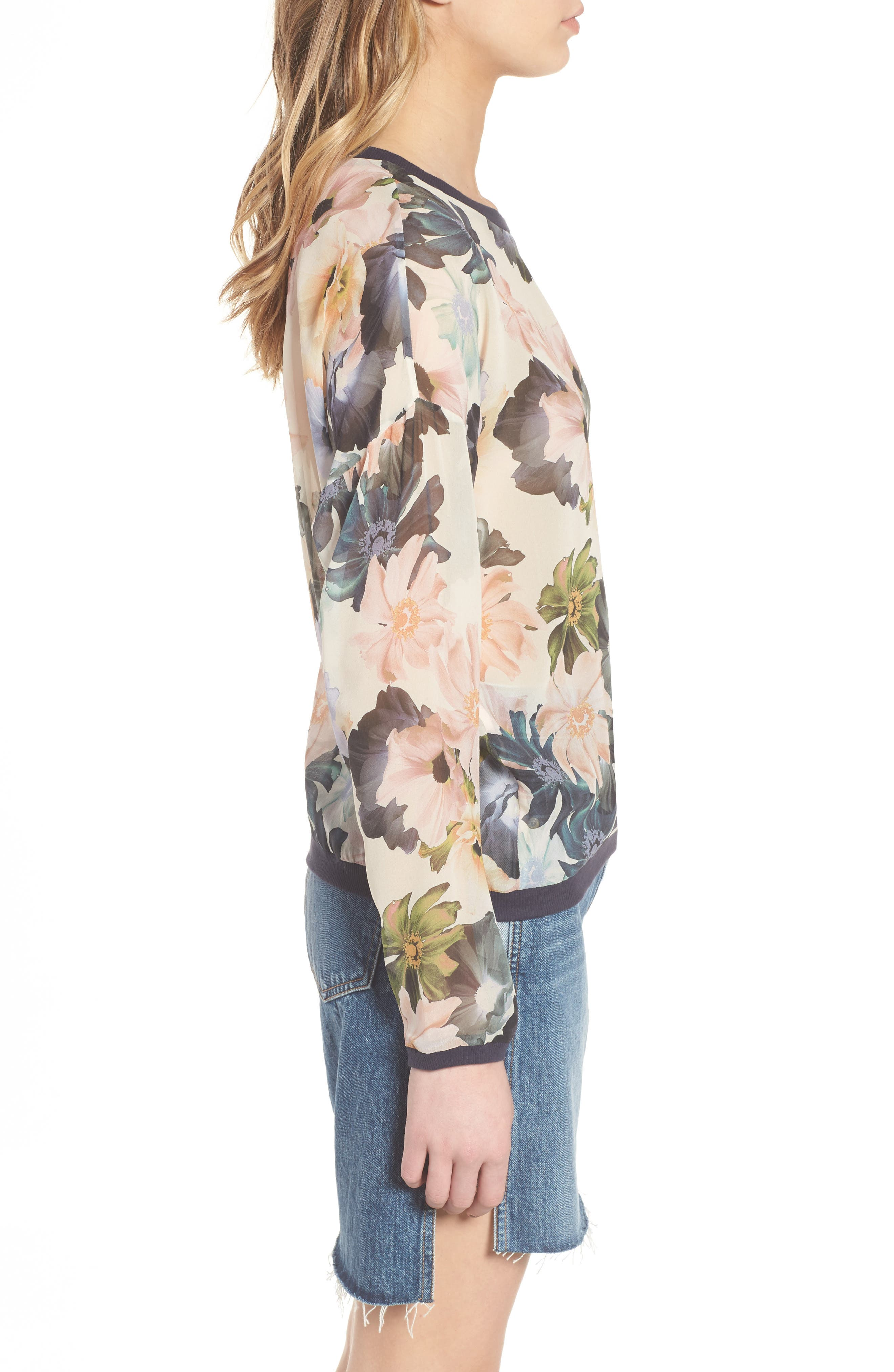Georgette Sweatshirt,                             Alternate thumbnail 3, color,                             Desert Garden Print