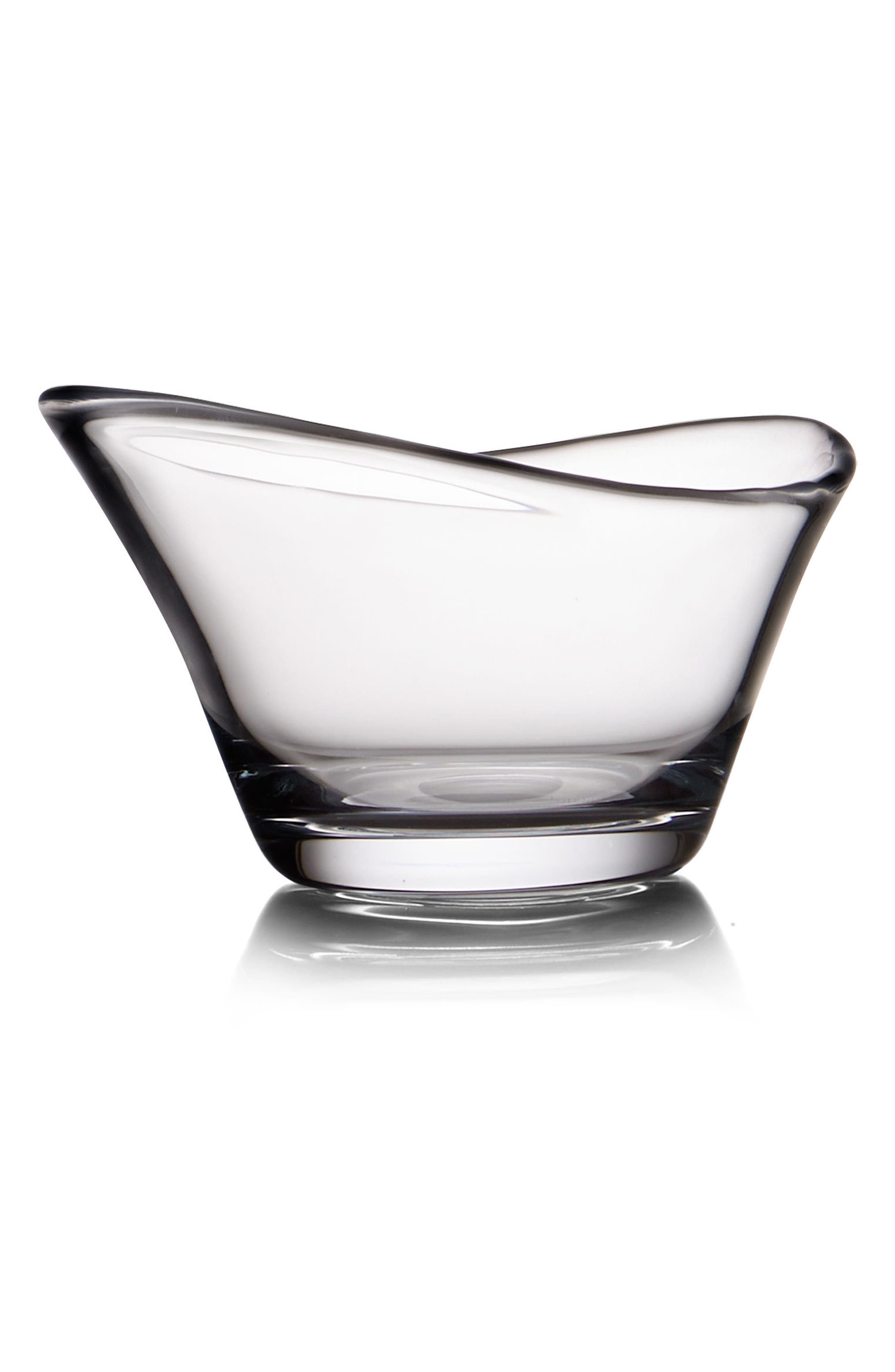 Small Moderne Bowl,                             Main thumbnail 1, color,                             Clear