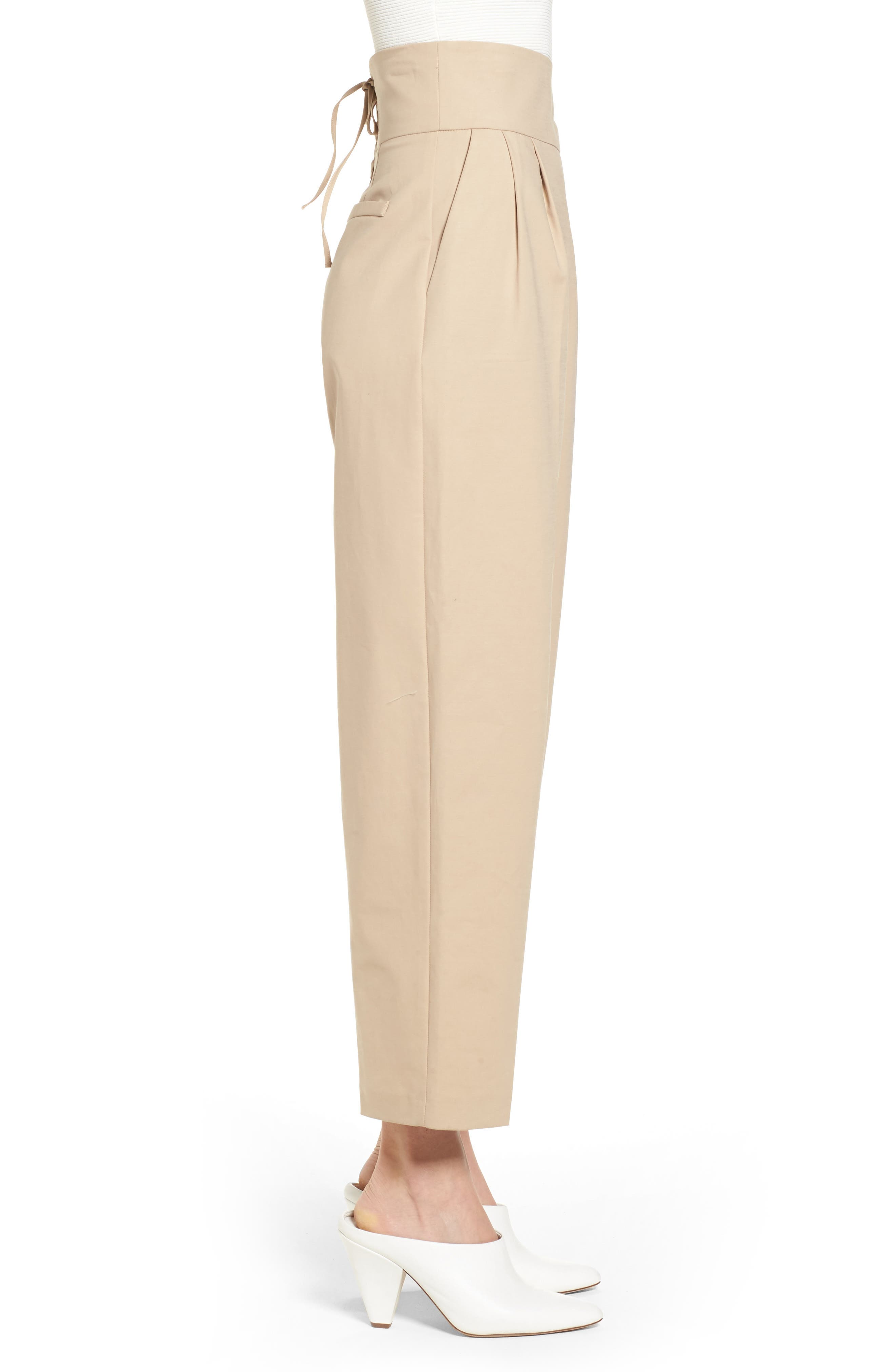 Lace Back Trousers,                             Alternate thumbnail 3, color,                             Camel