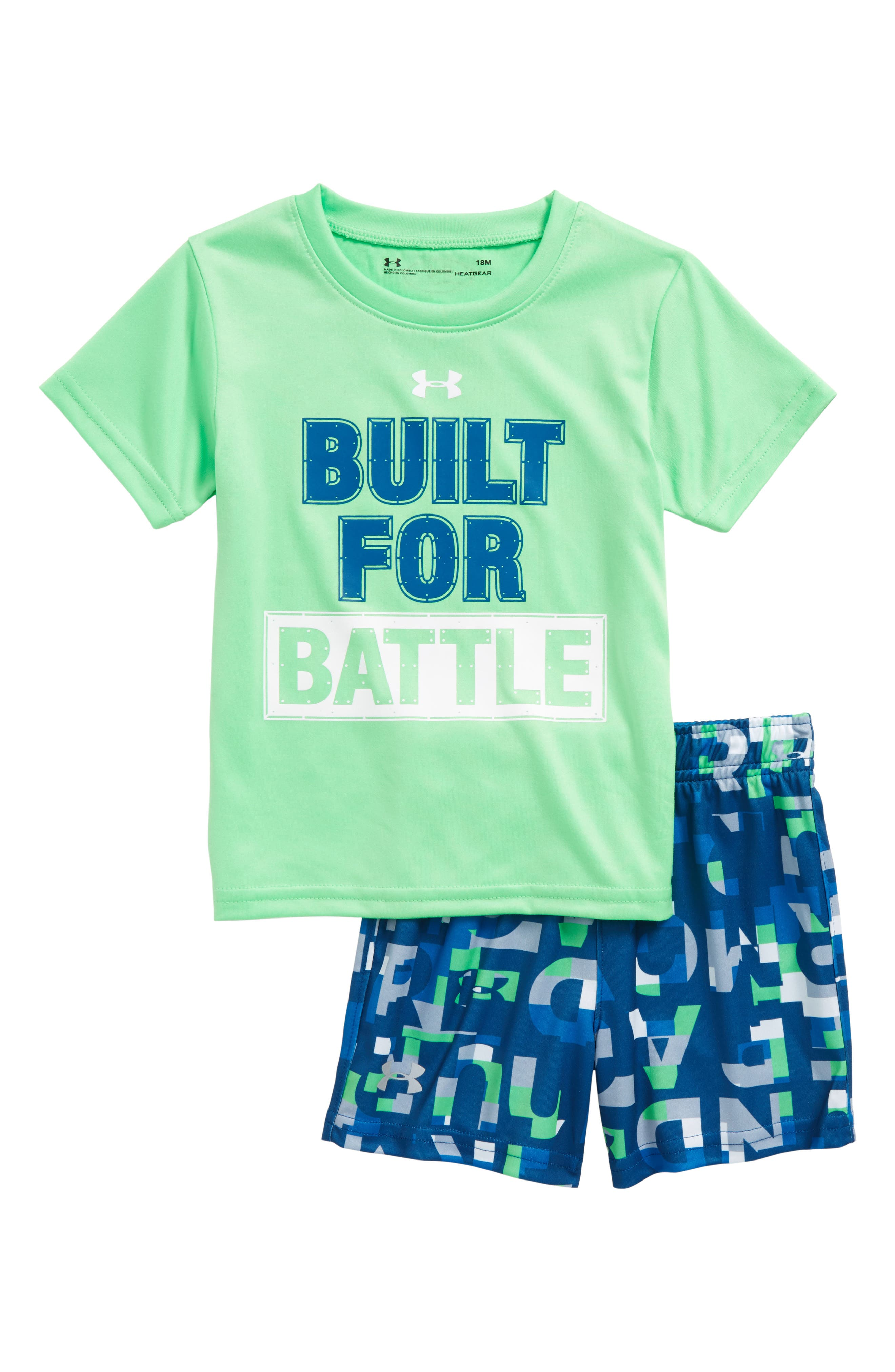Built for Battle T-Shirt & Shorts Set,                         Main,                         color, Arena Green