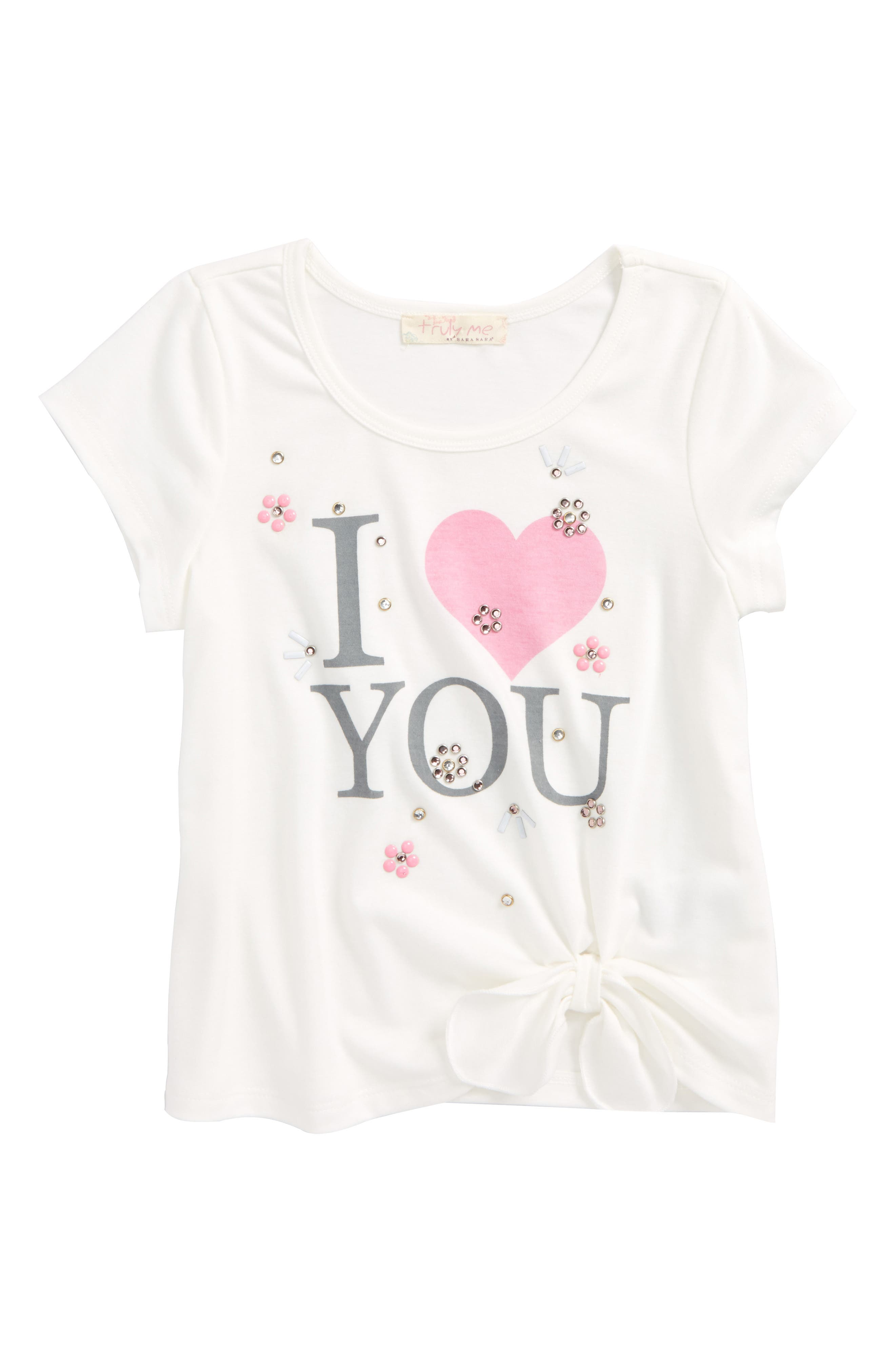 Truly Me Tie Front Graphic Top (Toddler Girls & Little Girls)
