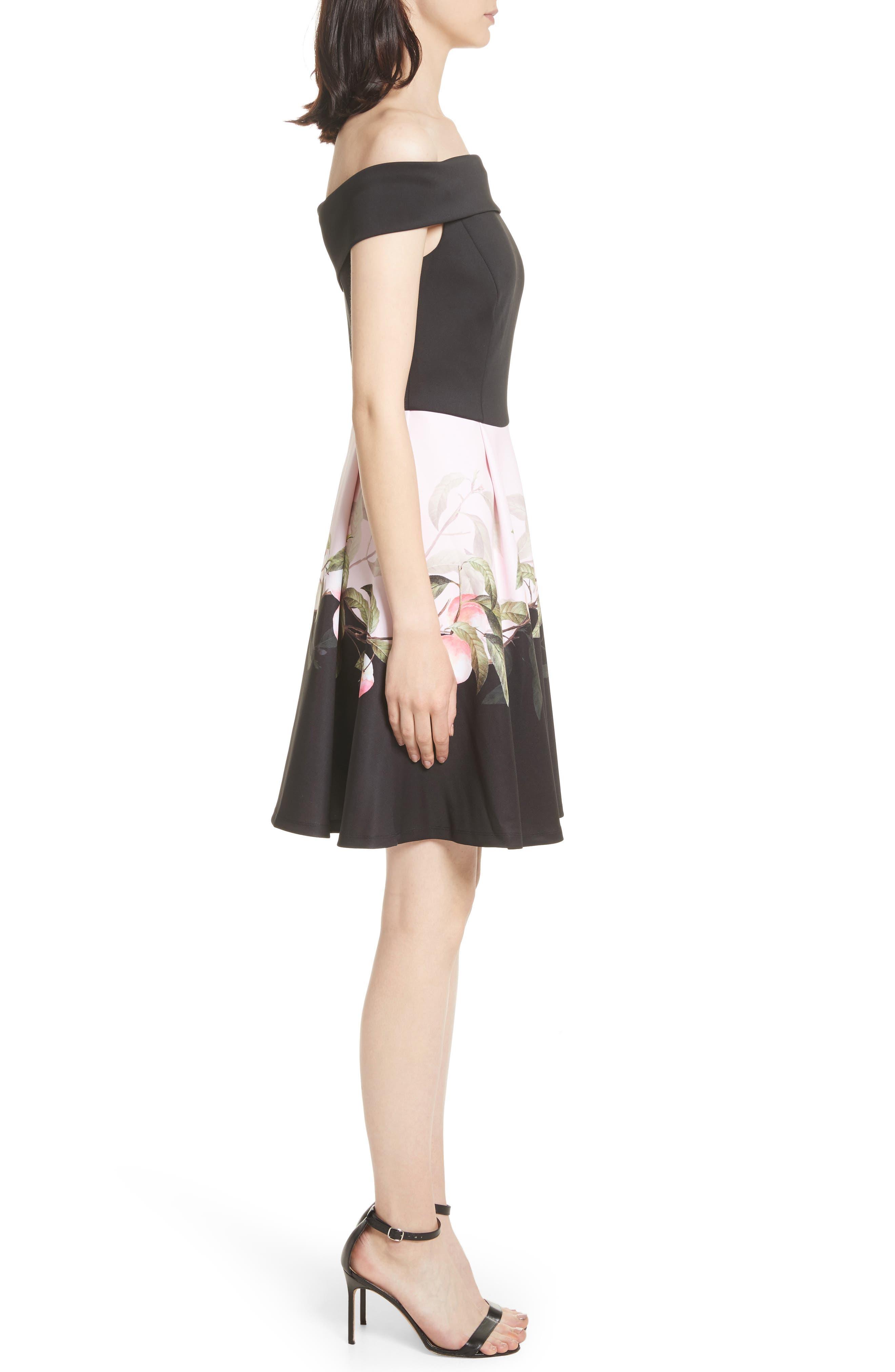 Peach Blossom Off the Shoulder Dress,                             Alternate thumbnail 3, color,                             Black