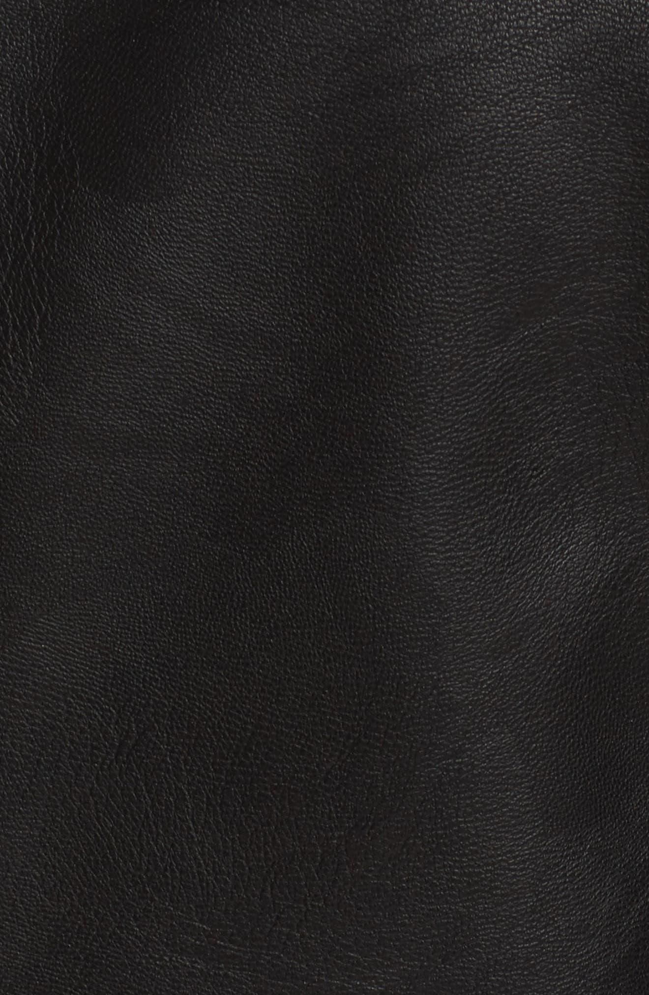 Lamb Touch Faux Leather Moto Jacket,                             Alternate thumbnail 5, color,                             Black