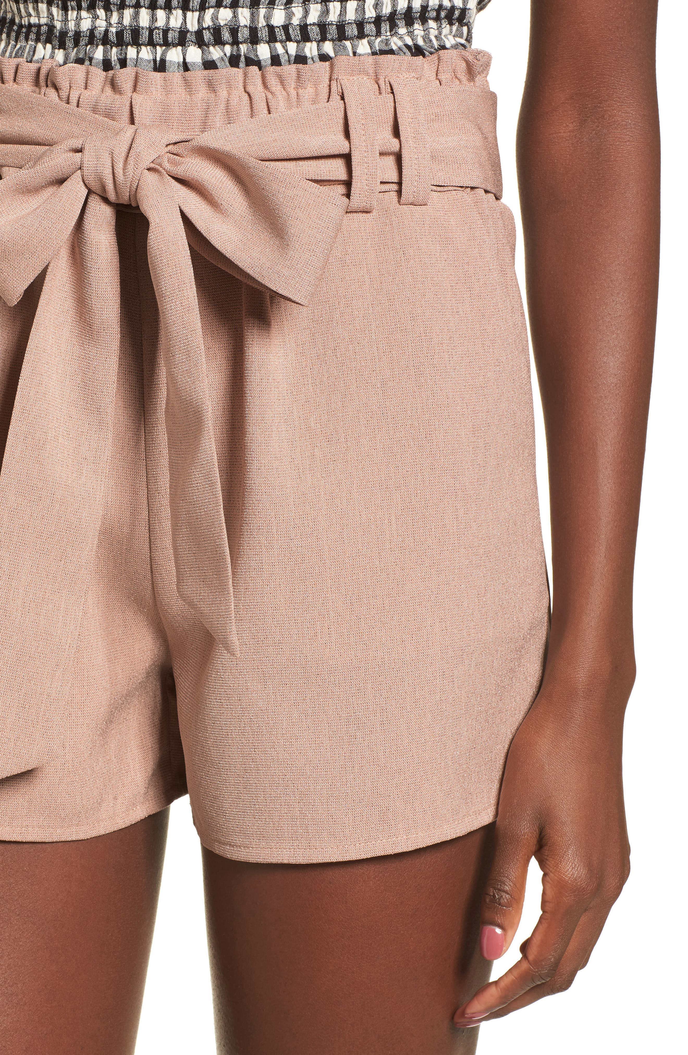Tie Waist Shorts,                             Alternate thumbnail 5, color,                             Dusty Pink