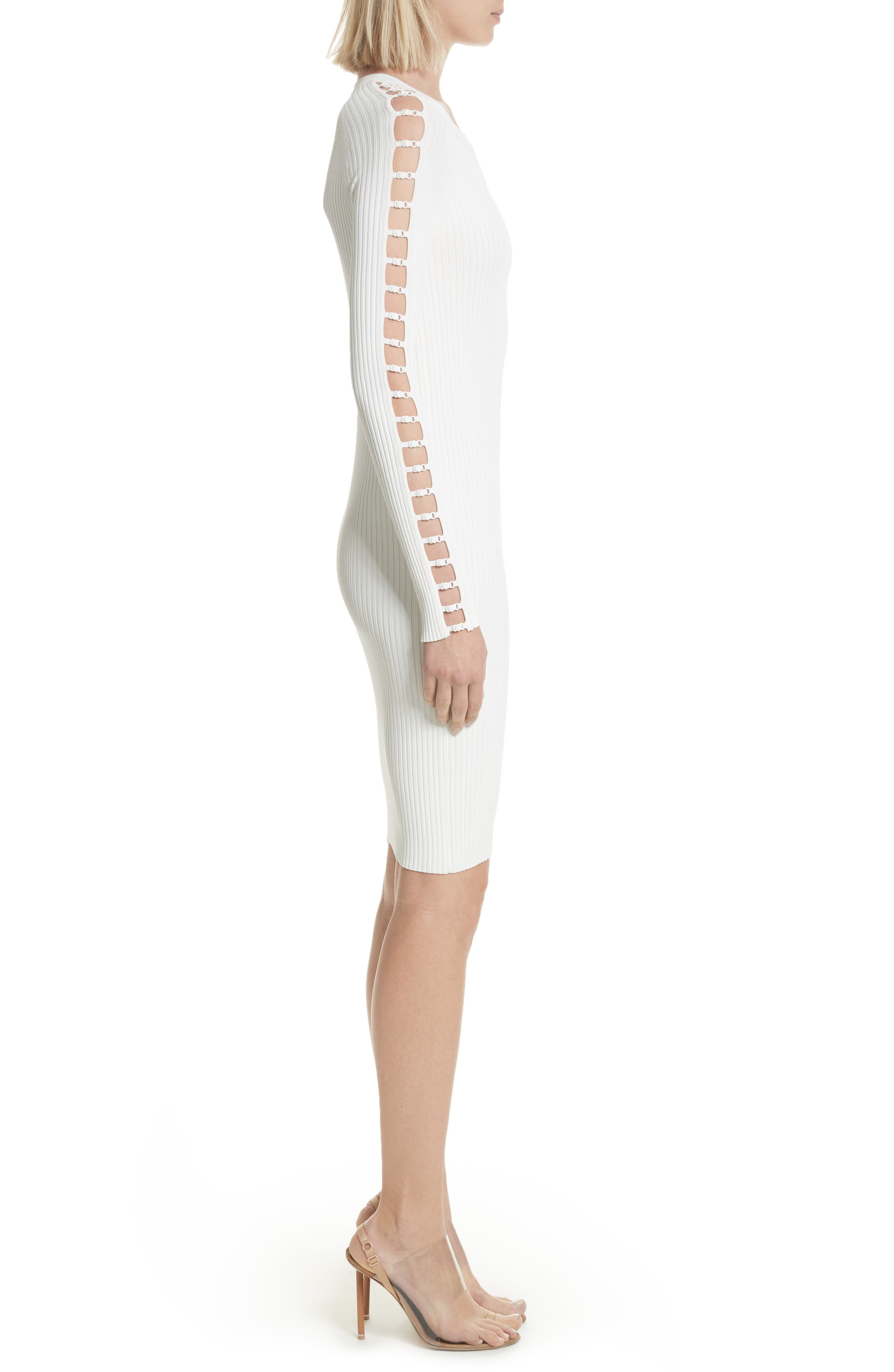 Bra Strap Sleeve Body-Con Dress,                             Alternate thumbnail 3, color,                             Ivory