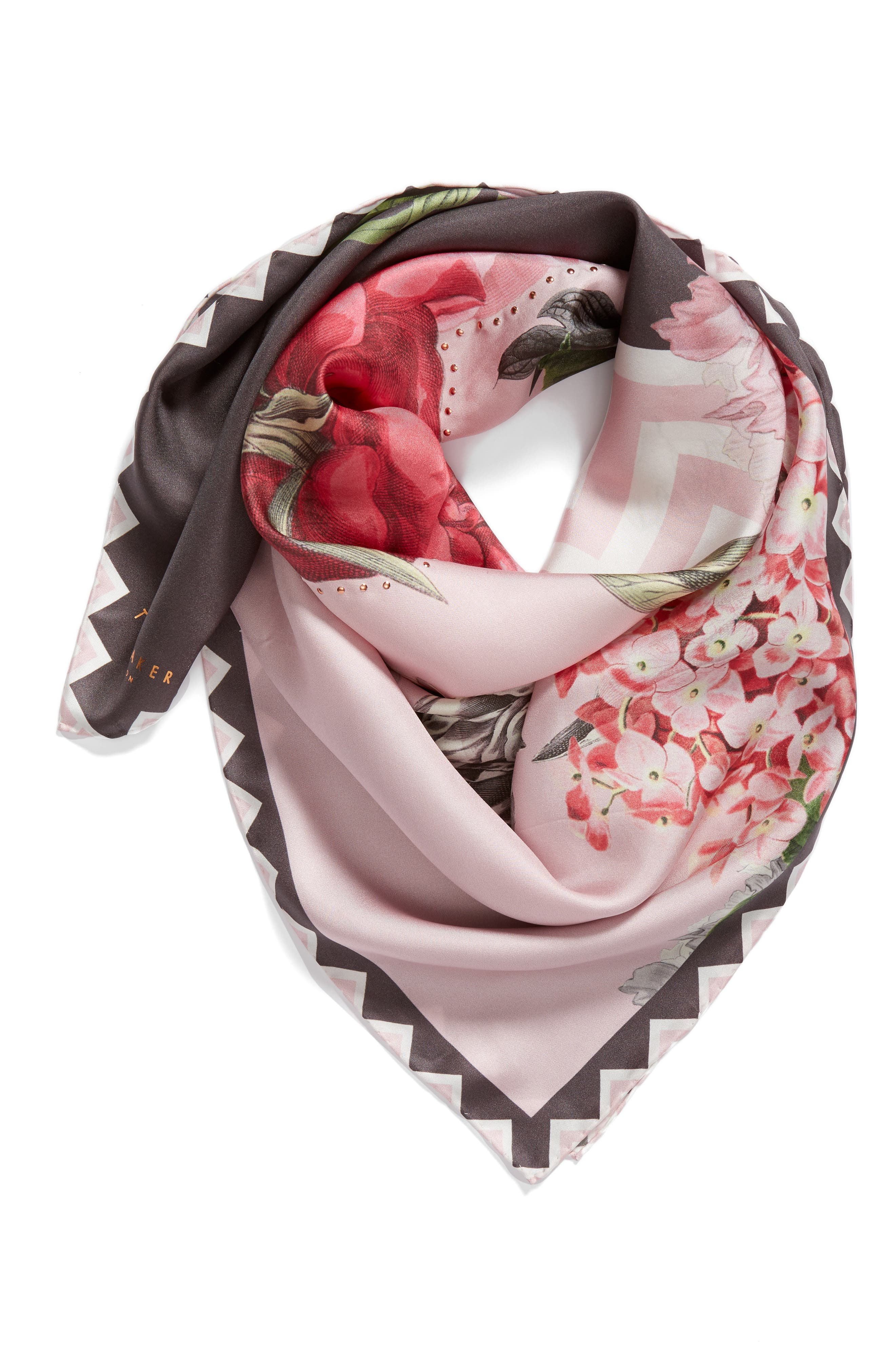 Palace Gardens Square Silk Scarf,                             Alternate thumbnail 2, color,                             Dusky Pink