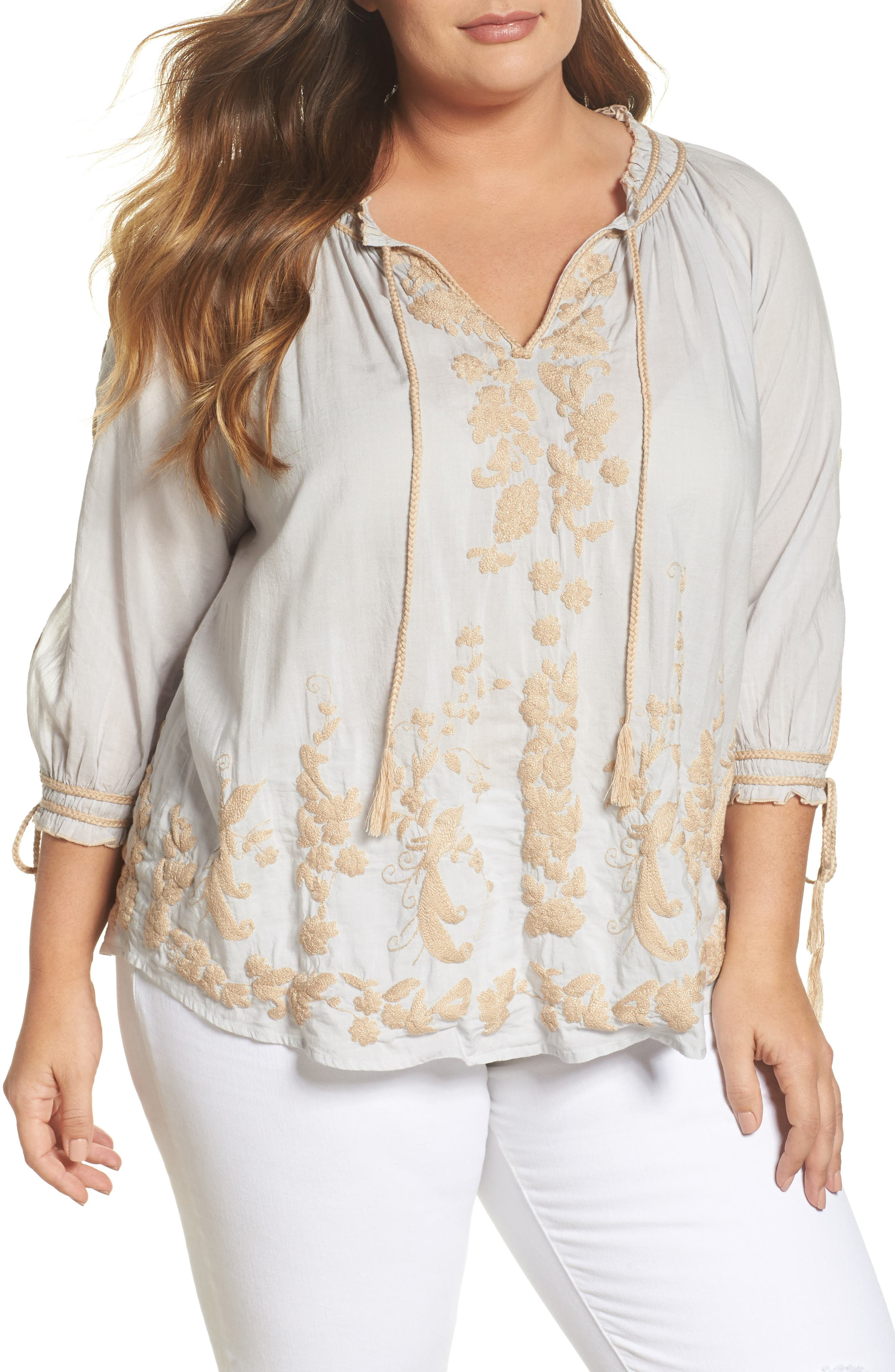 Embroidered Peasant Top,                         Main,                         color, Ice