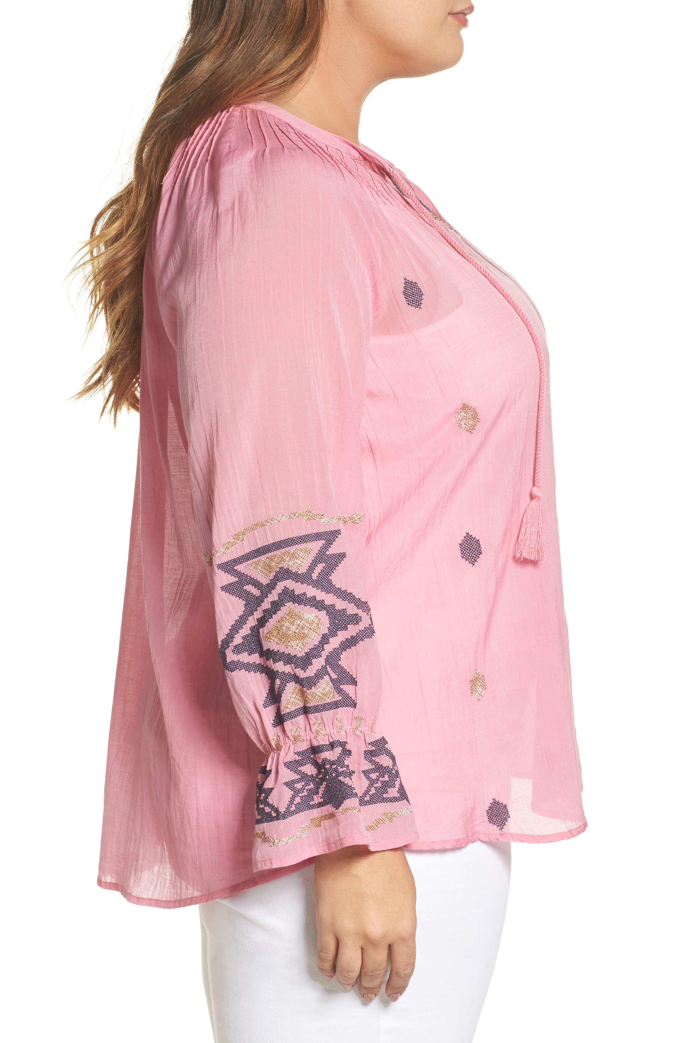 Metallic Embroidered Top,                             Alternate thumbnail 3, color,                             Flamingo Pink