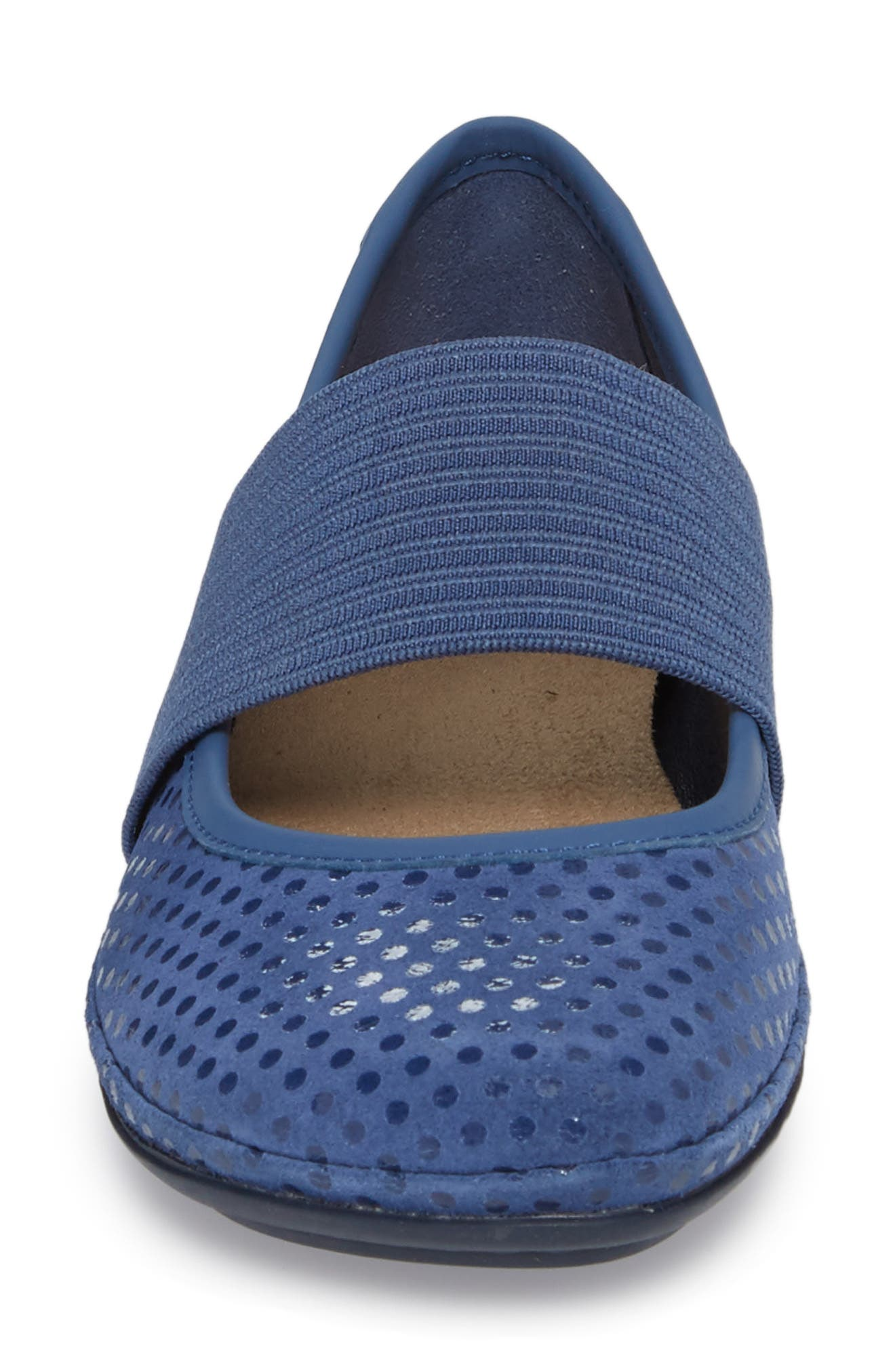 Right Nina Ballerina Flat,                             Alternate thumbnail 4, color,                             Medium Blue Nubuck