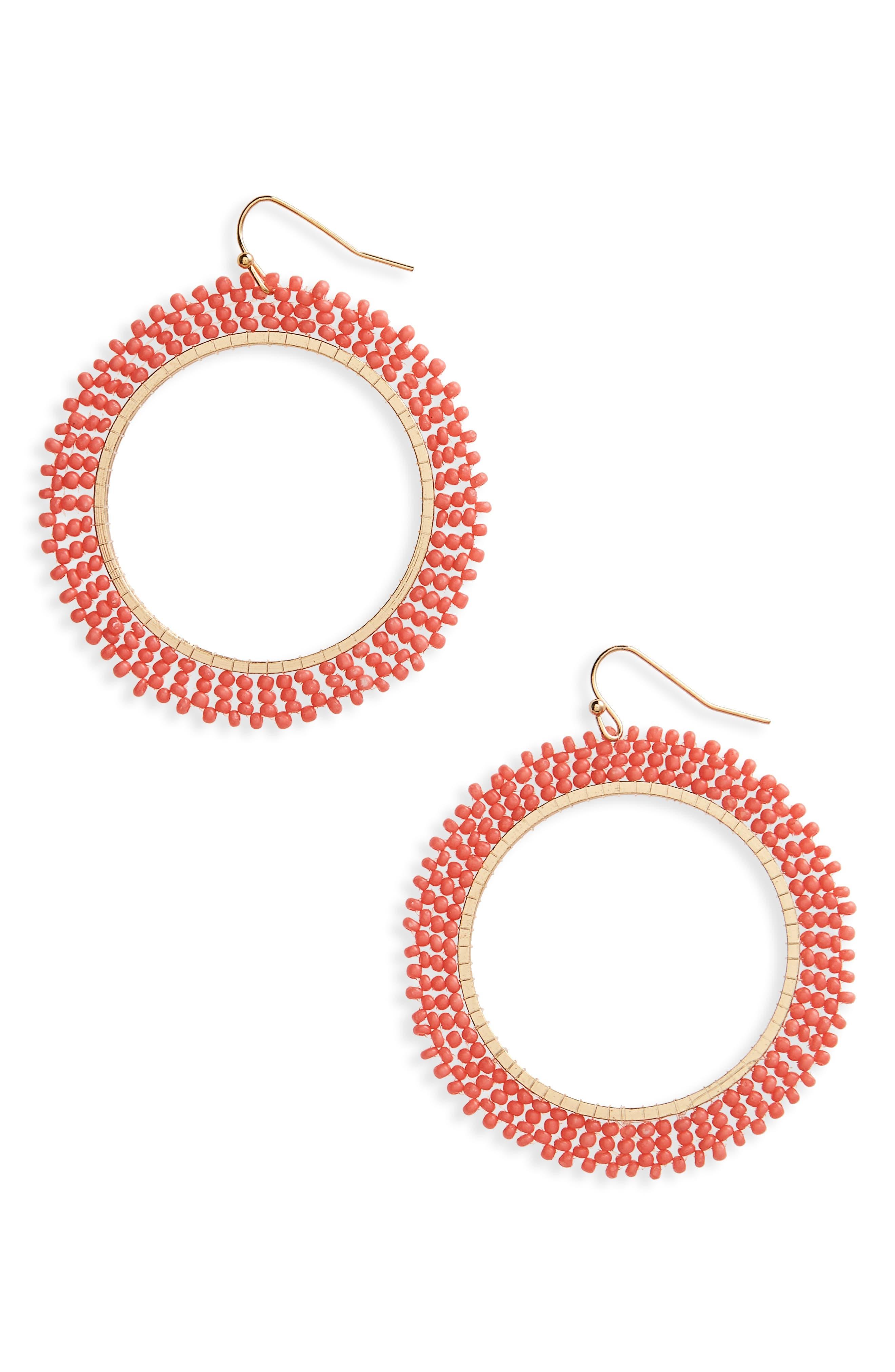 Beaded Hoop Earrings,                         Main,                         color, Coral