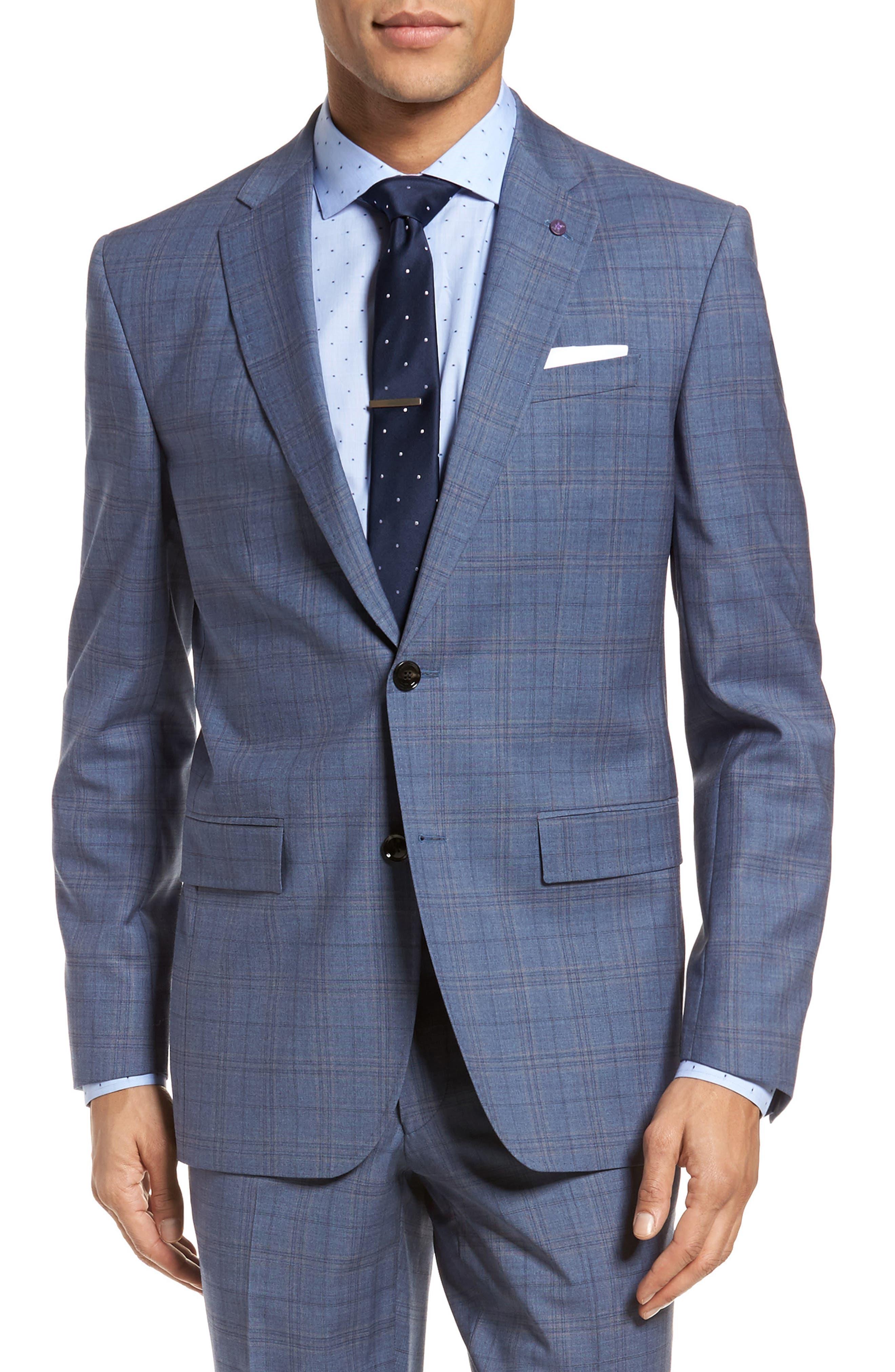 Jay Trim Fit Plaid Wool Suit,                             Alternate thumbnail 6, color,                             Blue