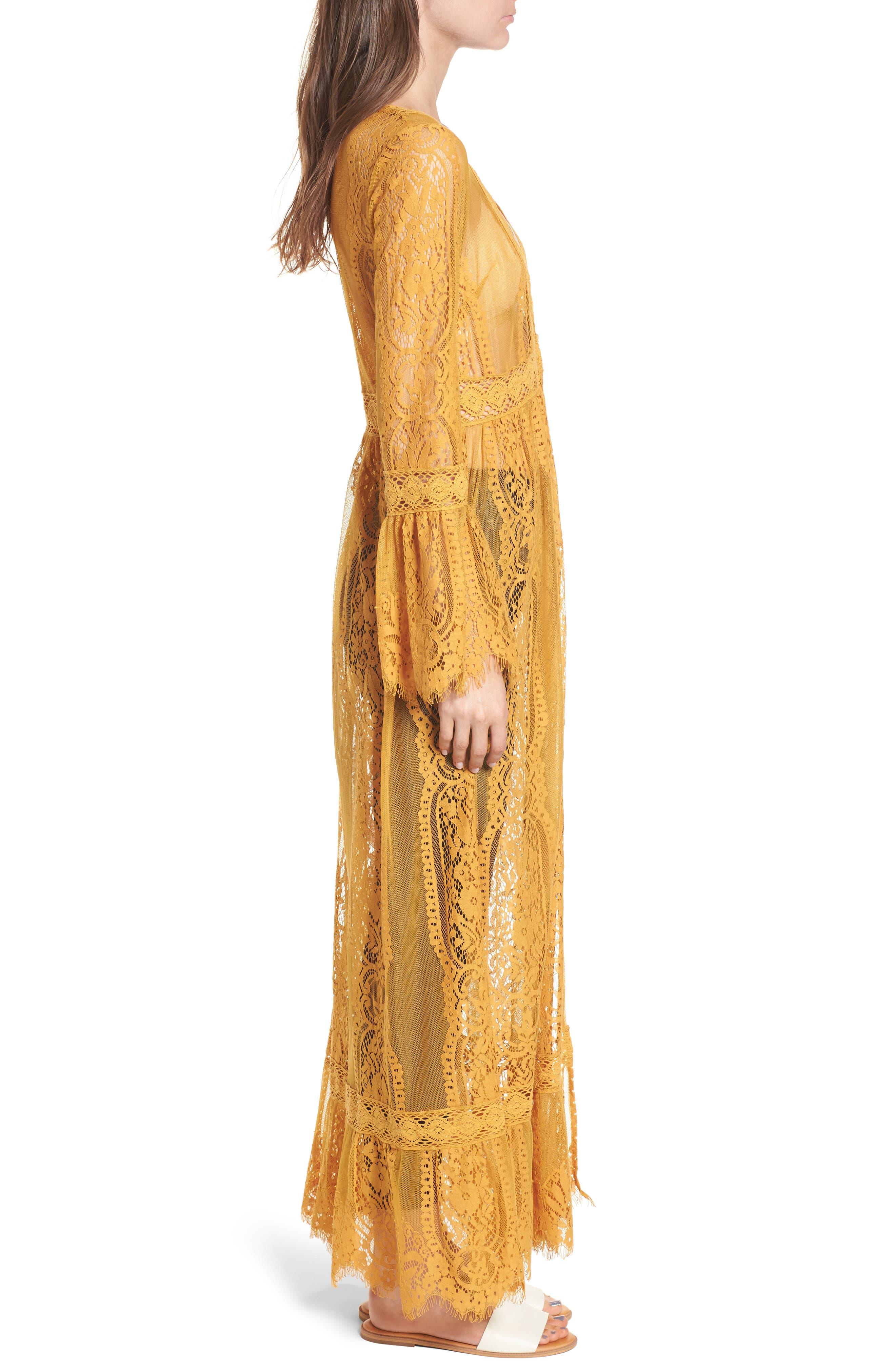 Bell Sleeve Lace Kimono,                             Alternate thumbnail 3, color,                             Mustard