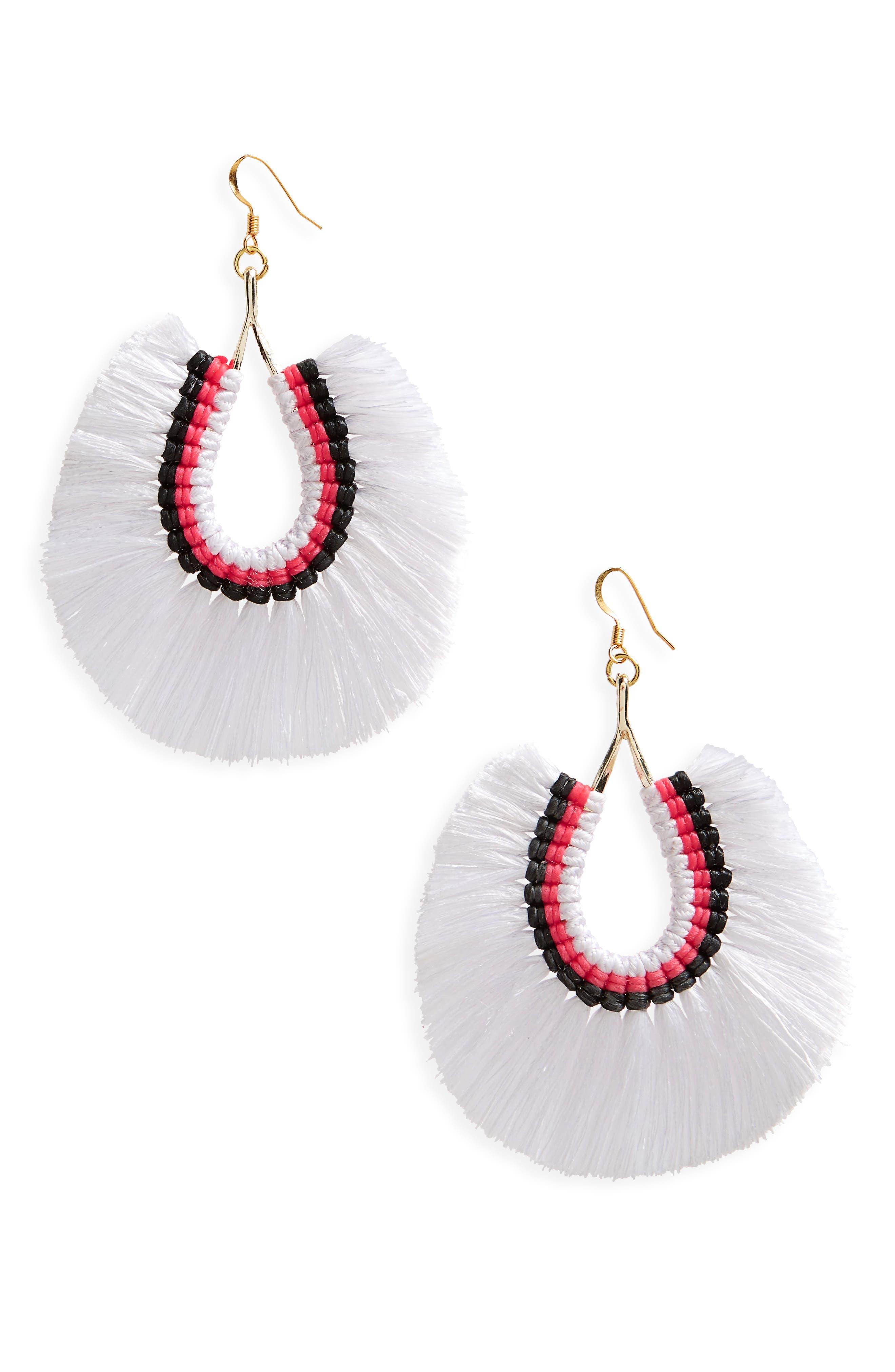 Fan Tassel Earrings,                         Main,                         color, White
