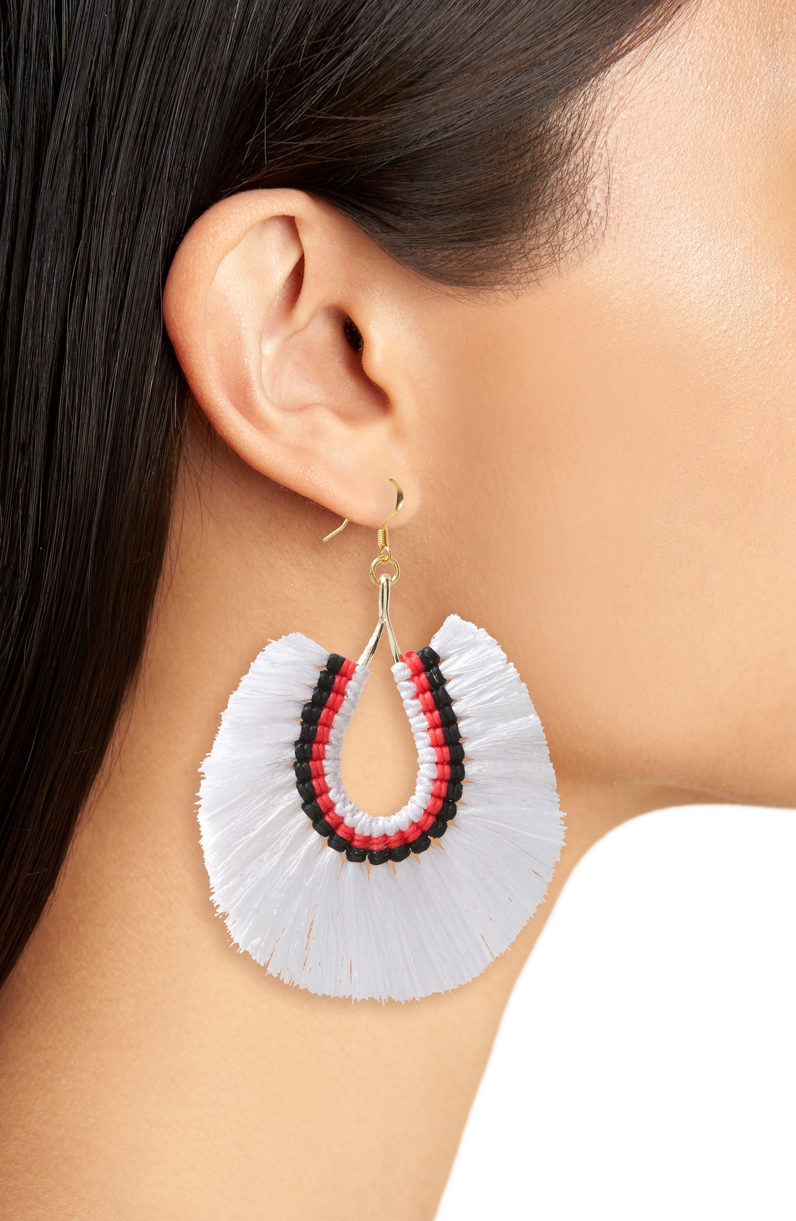 Fan Tassel Earrings,                             Alternate thumbnail 2, color,                             White