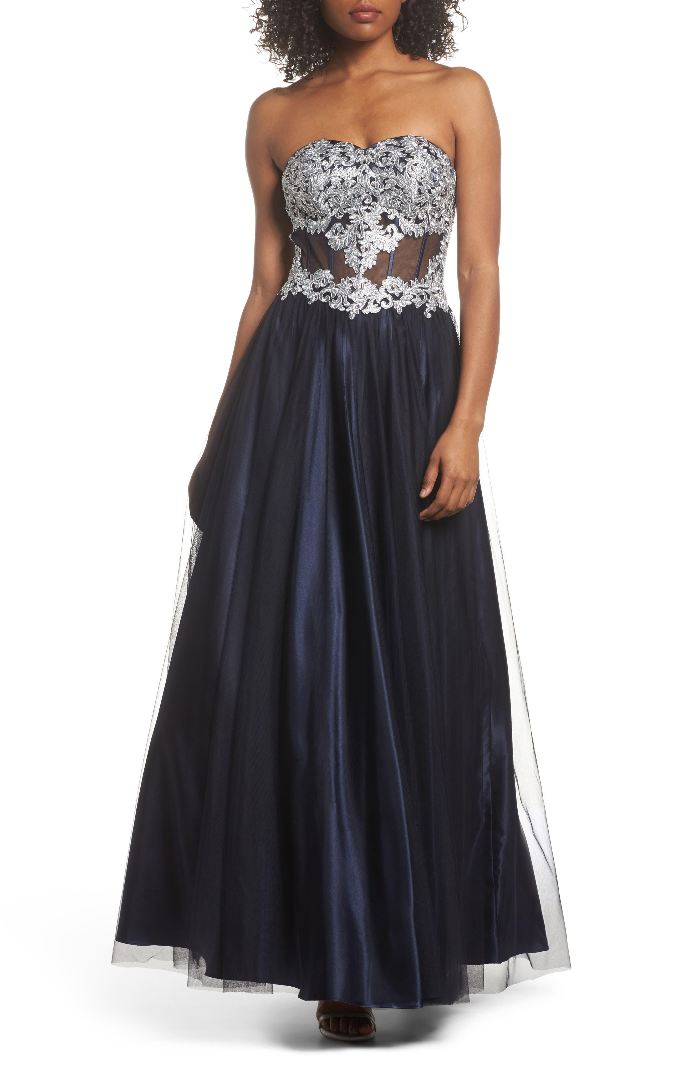 Embellished Corset Ballgown,                             Main thumbnail 1, color,                             Navy/ Silver
