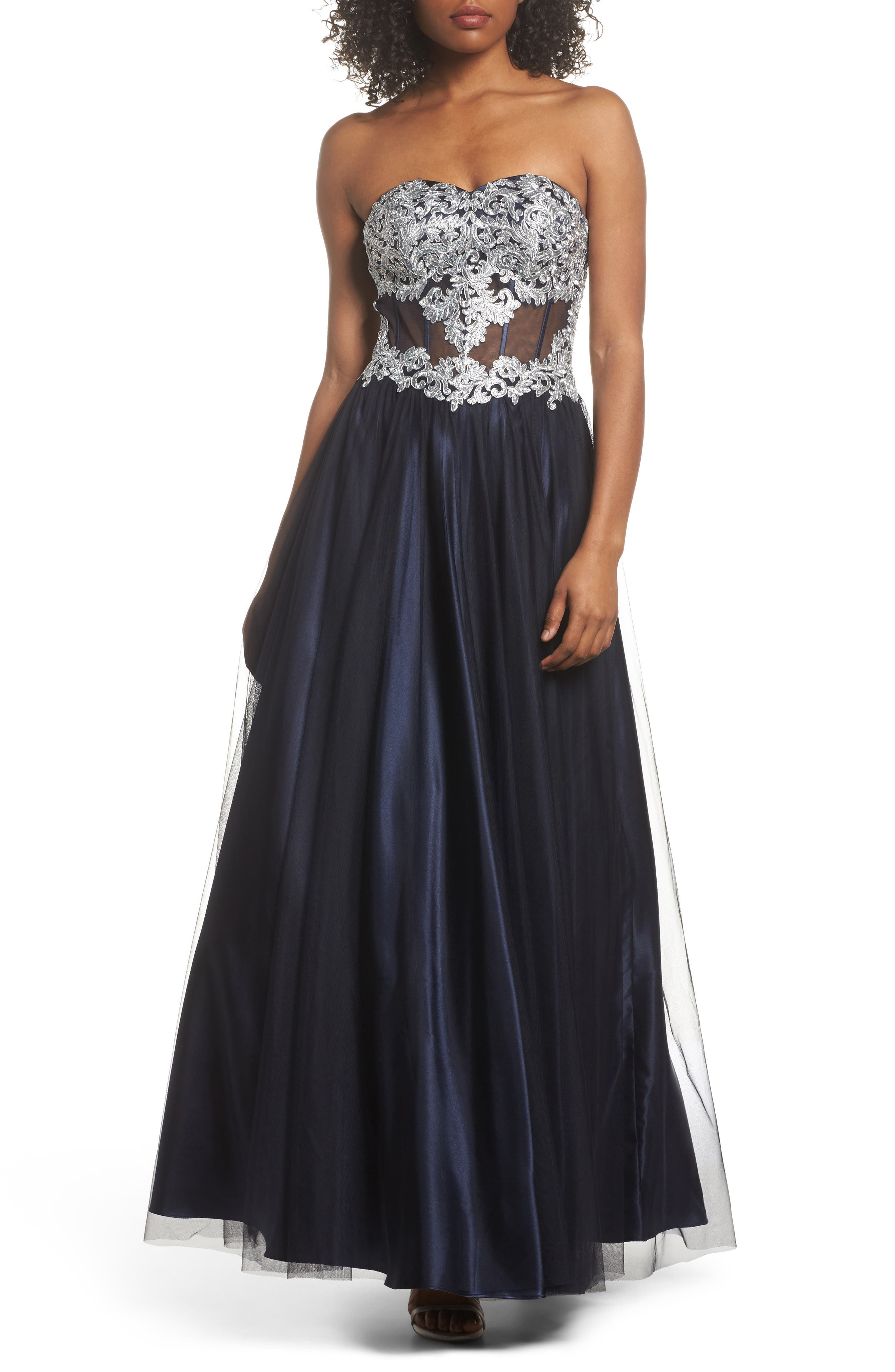 Embellished Corset Ballgown,                         Main,                         color, Navy/ Silver