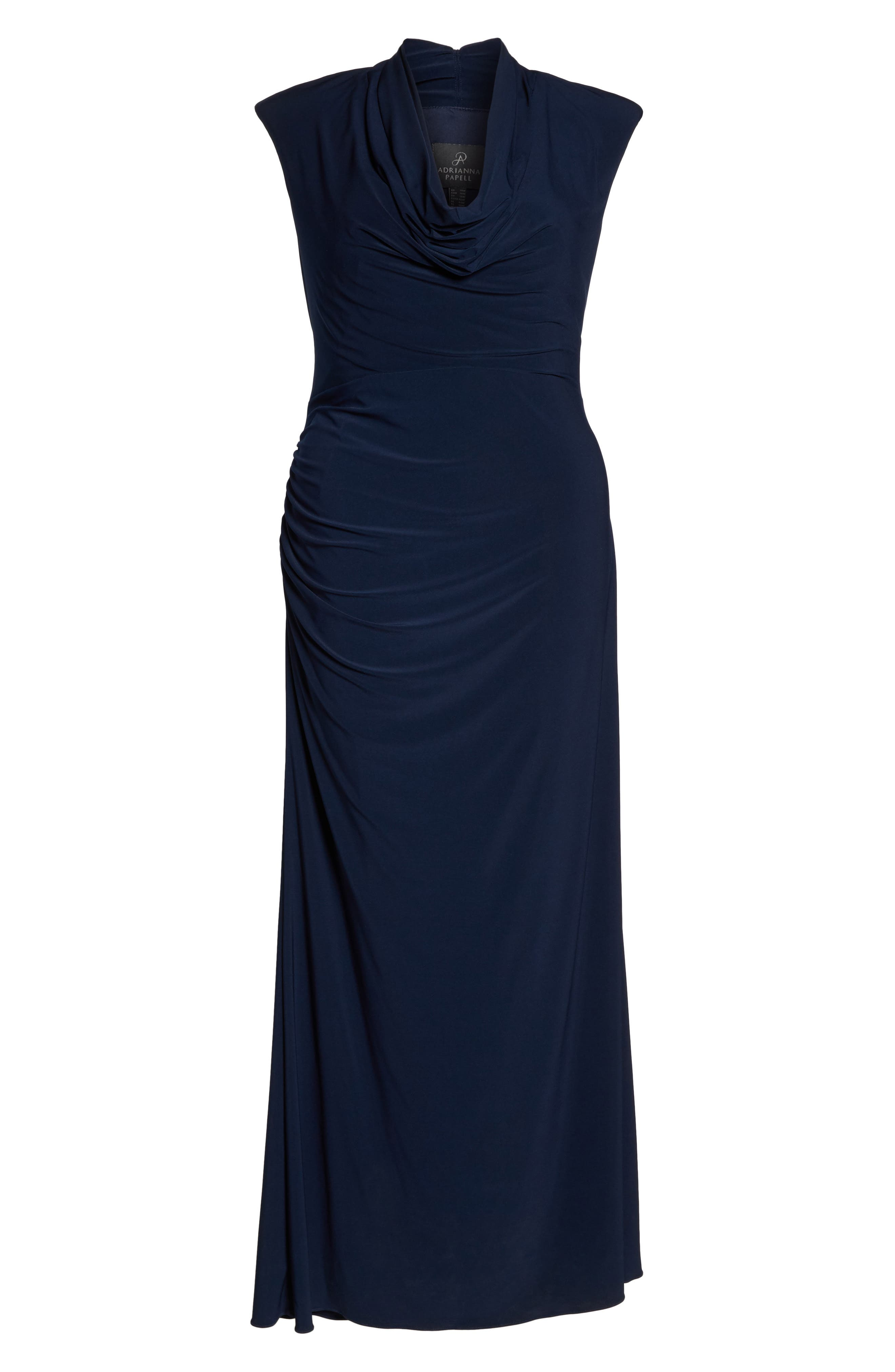 Cowl Neck Jersey Gown,                             Alternate thumbnail 4, color,                             Midnight