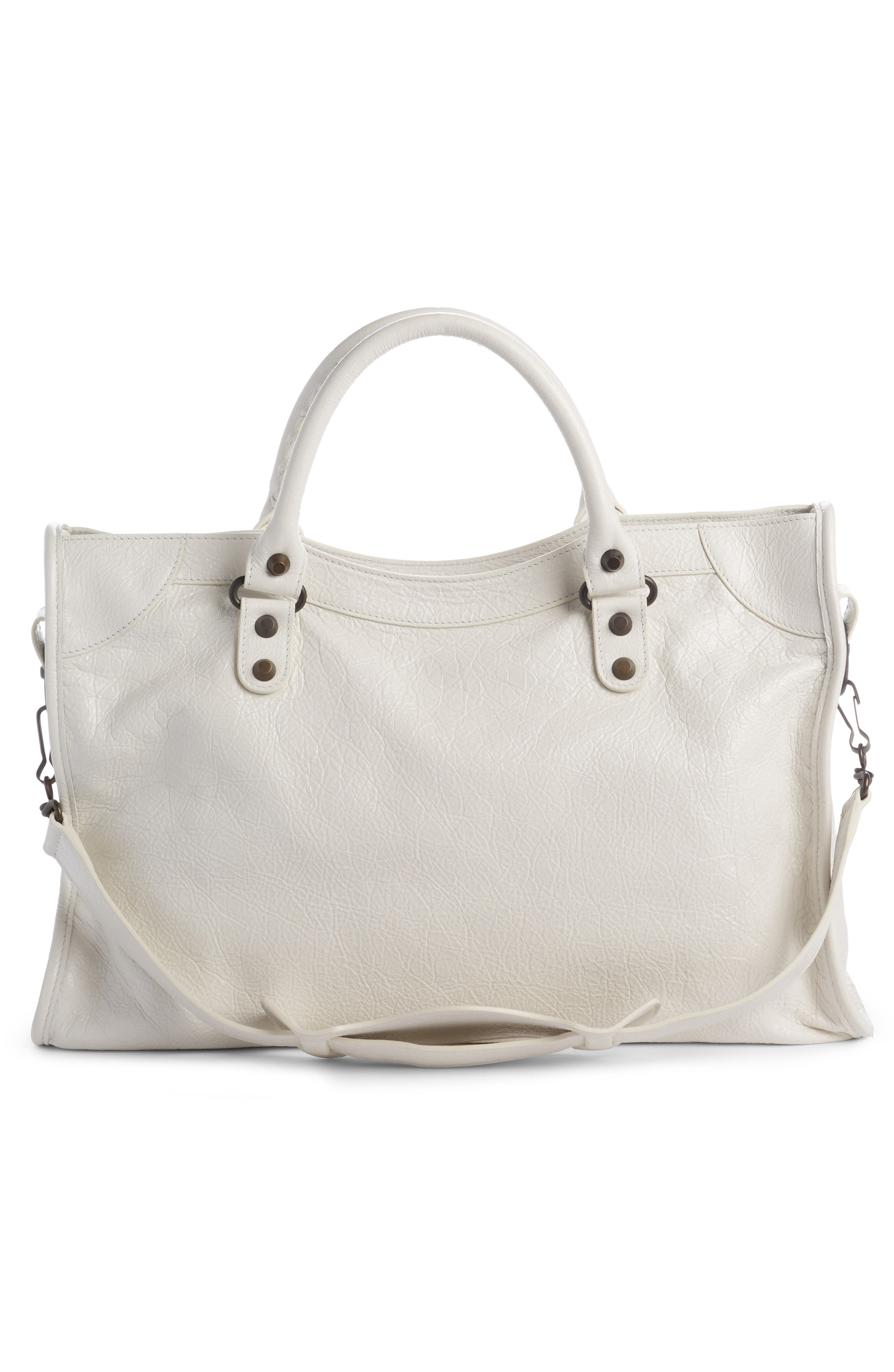 Classic City Leather Tote,                             Alternate thumbnail 2, color,                             Blanc Clair