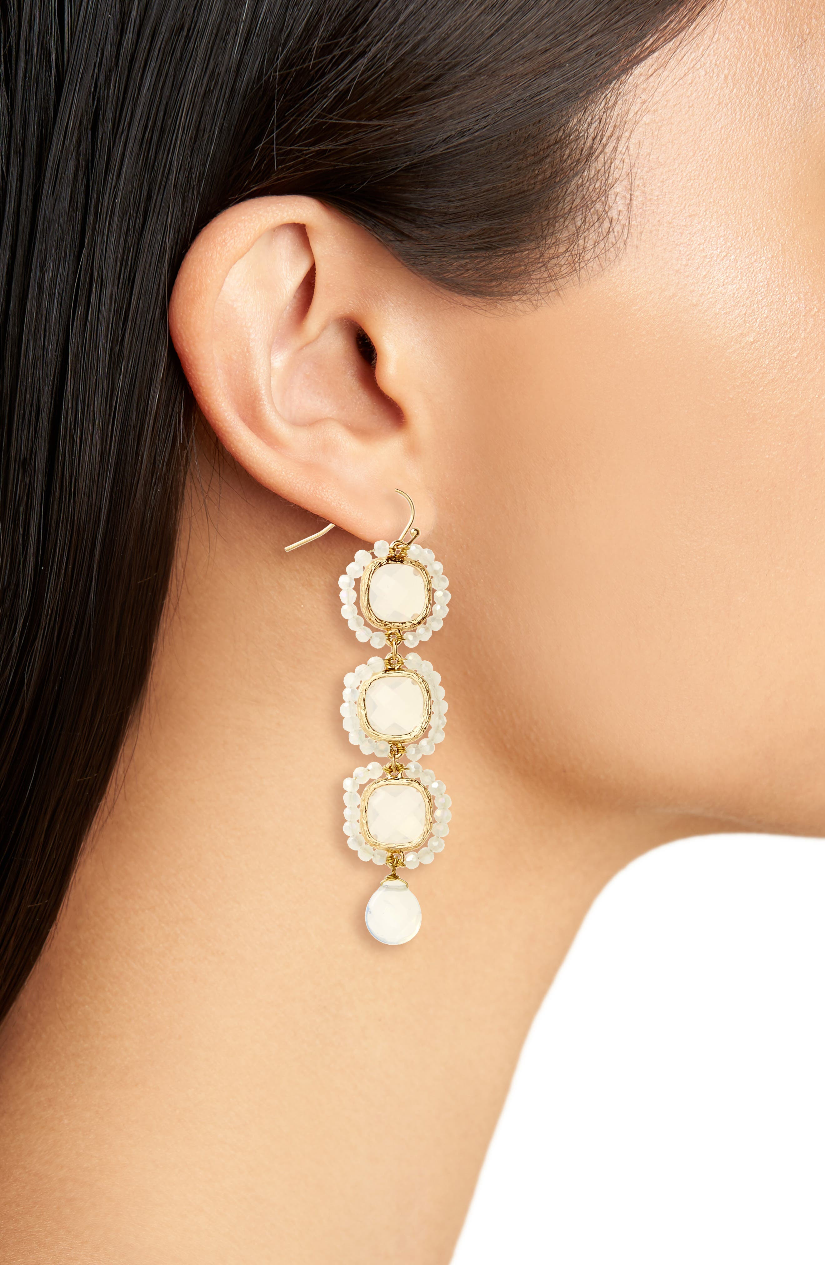 Crystal Linear Drop Earrings,                             Alternate thumbnail 2, color,                             White