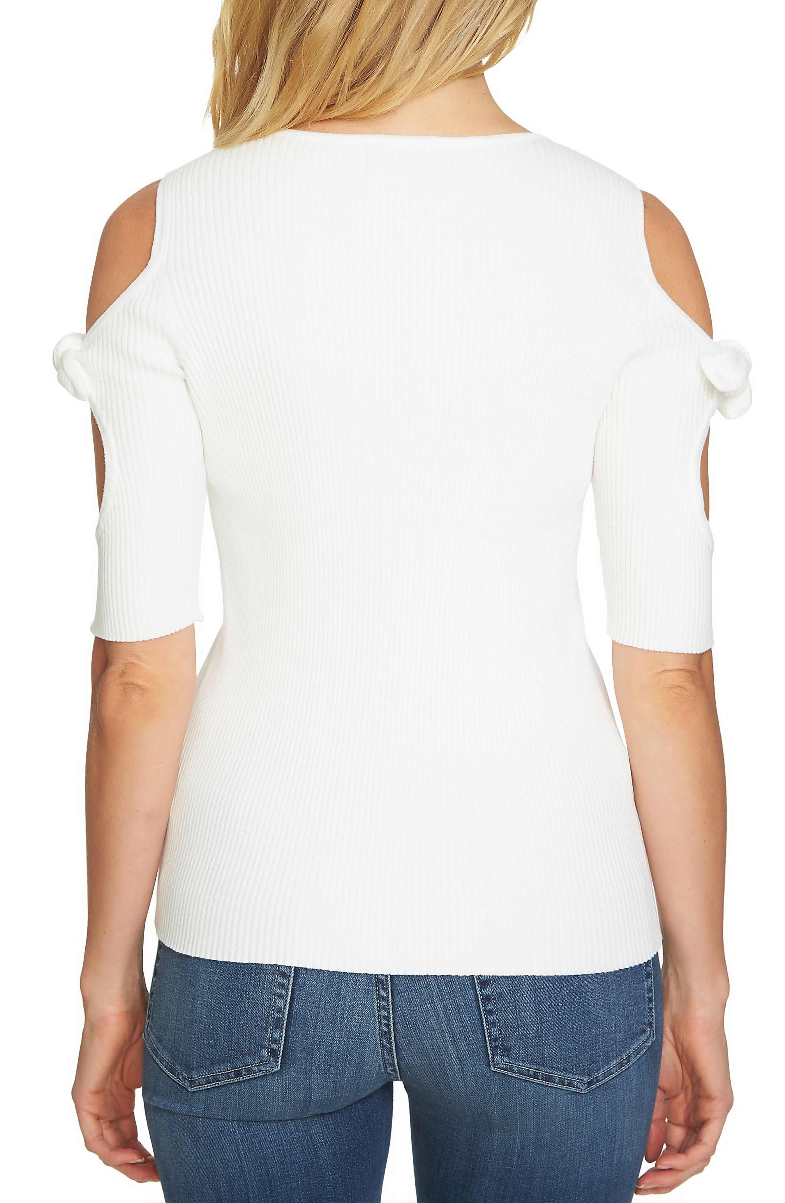 Tie Sleeve Cold Shoulder Sweater,                             Alternate thumbnail 2, color,                             Antique White