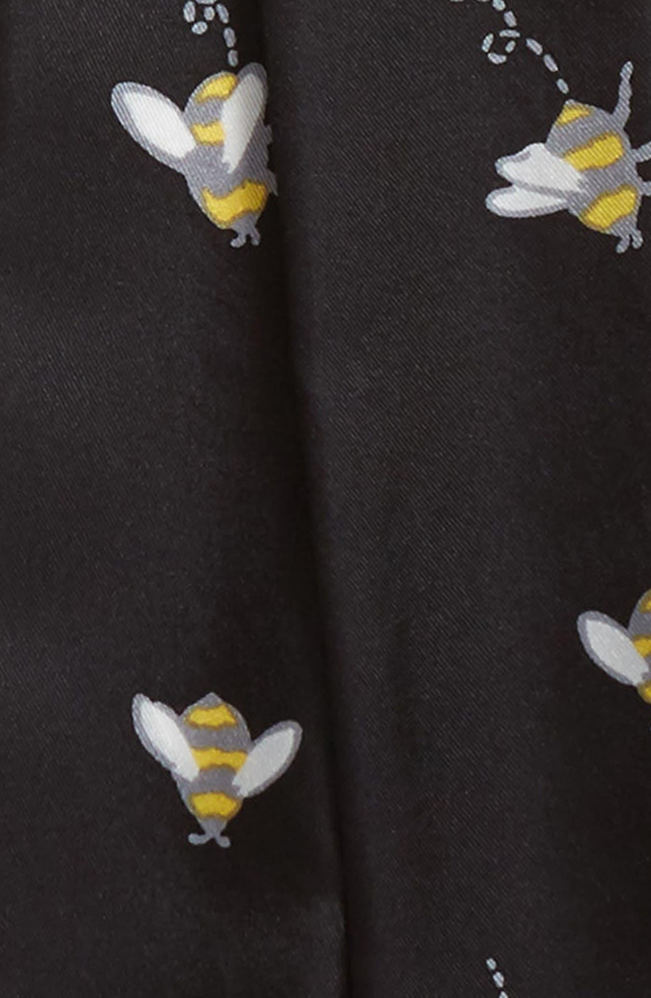 abuzz skinny silk scarf,                             Alternate thumbnail 4, color,                             Black