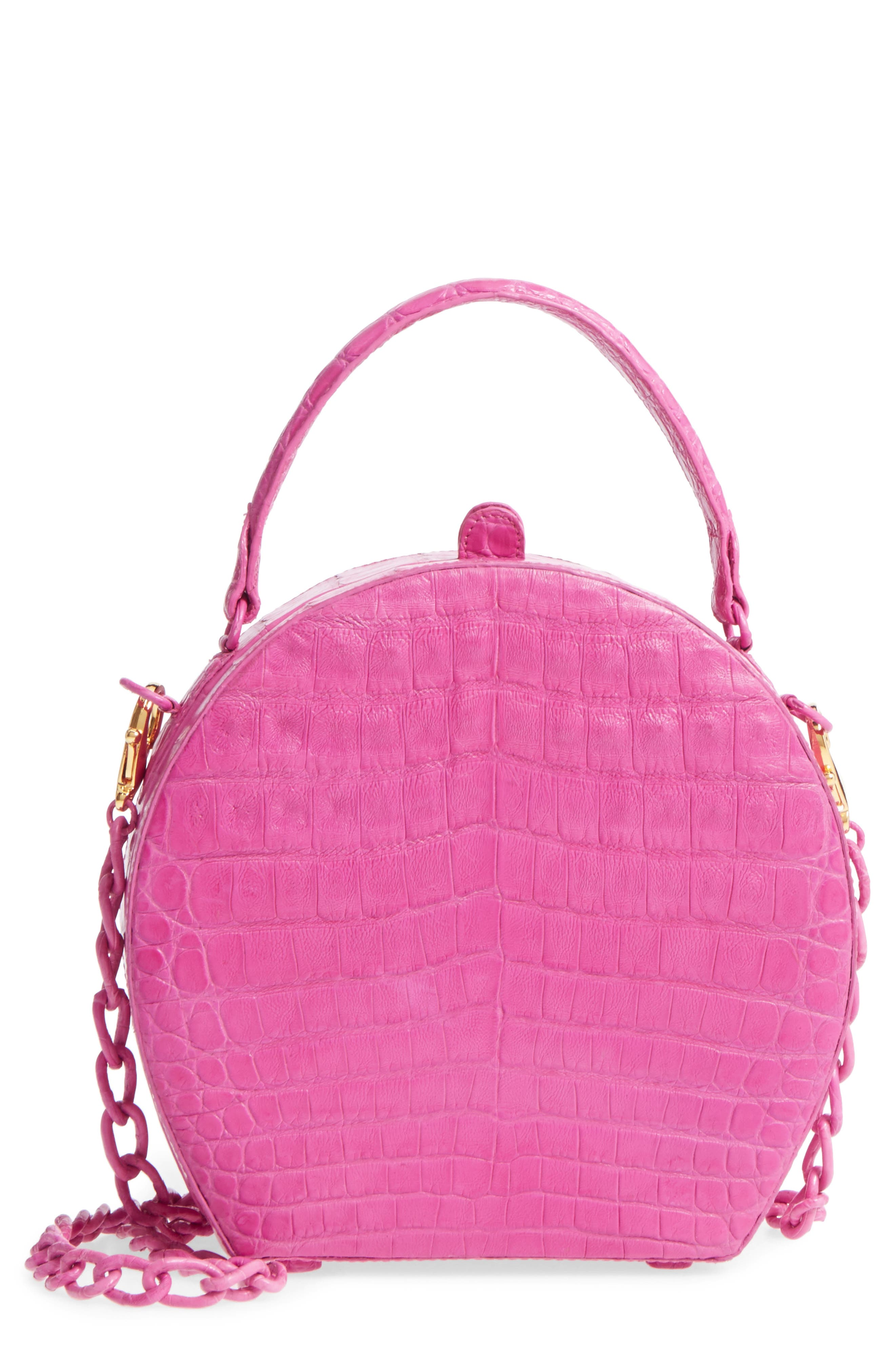 Genuine Crocodile Circle Bag,                             Main thumbnail 1, color,                             Pink